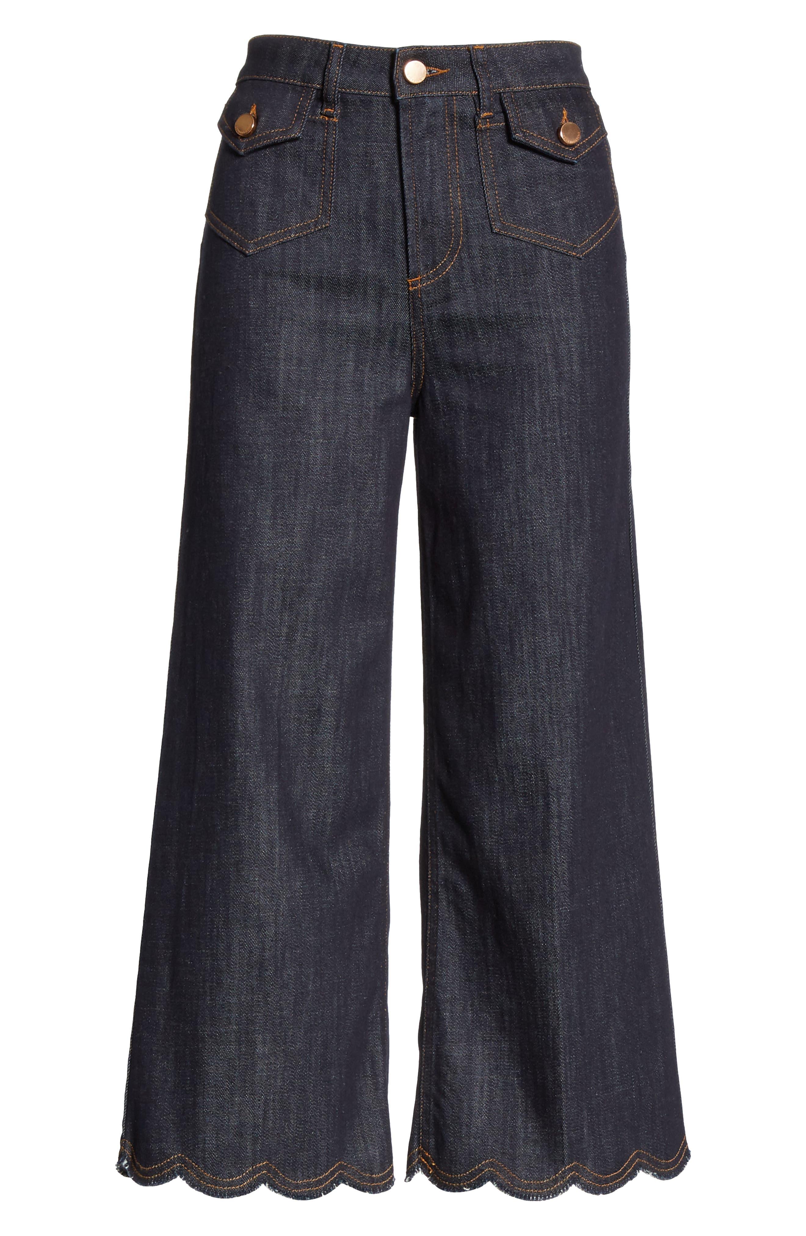 Scallop Hem Crop Wide Leg Jeans,                             Alternate thumbnail 6, color,                             BLUE DENIM