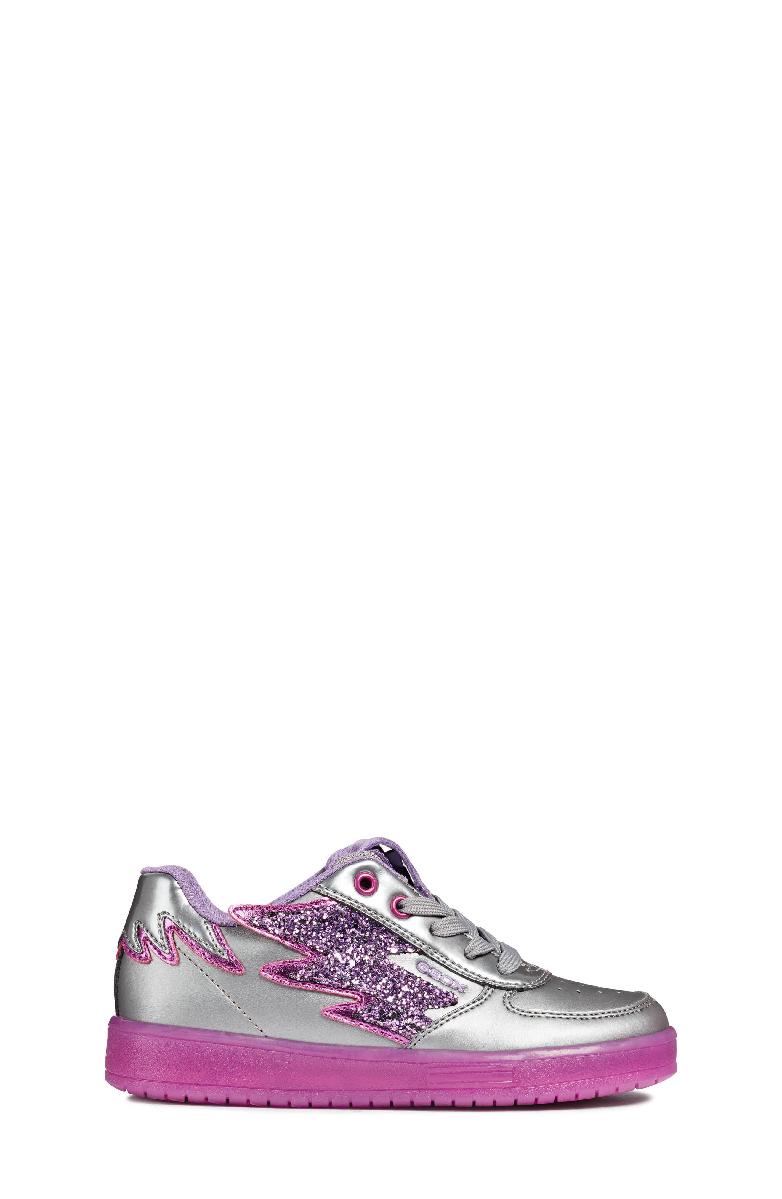 Kommodor Glitter Light Up Sneaker,                             Alternate thumbnail 3, color,                             DARK SILVER/LILAC