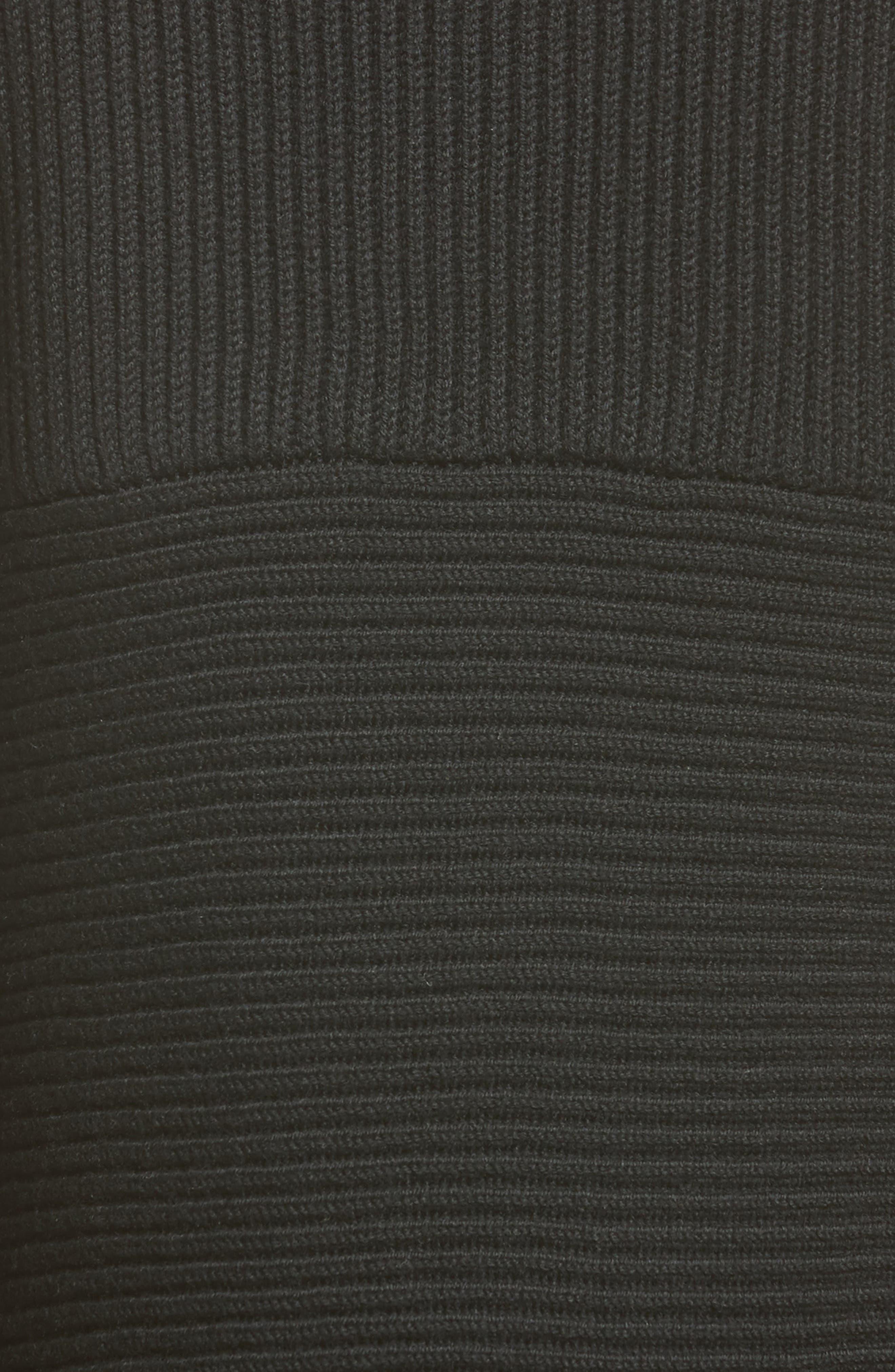 Virgin Wool Rib Knit Dress,                             Alternate thumbnail 5, color,                             001
