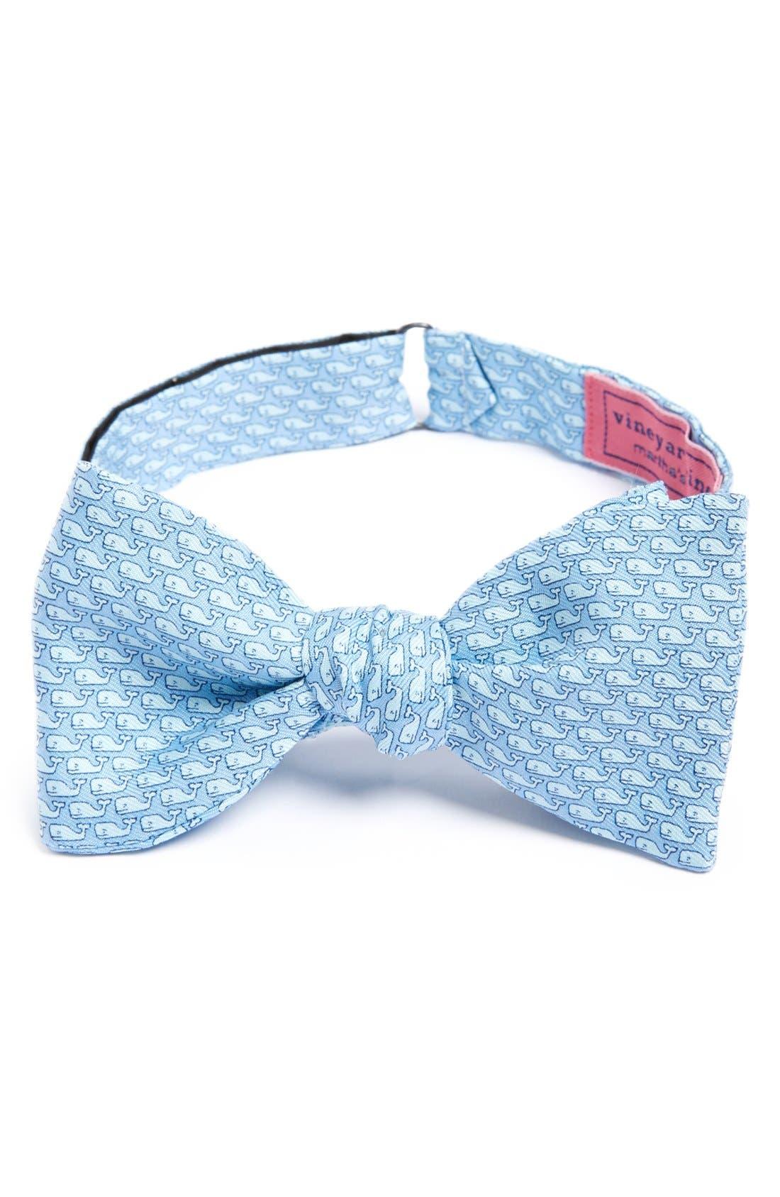 Whale Print Silk Bow Tie,                         Main,                         color, BLUE