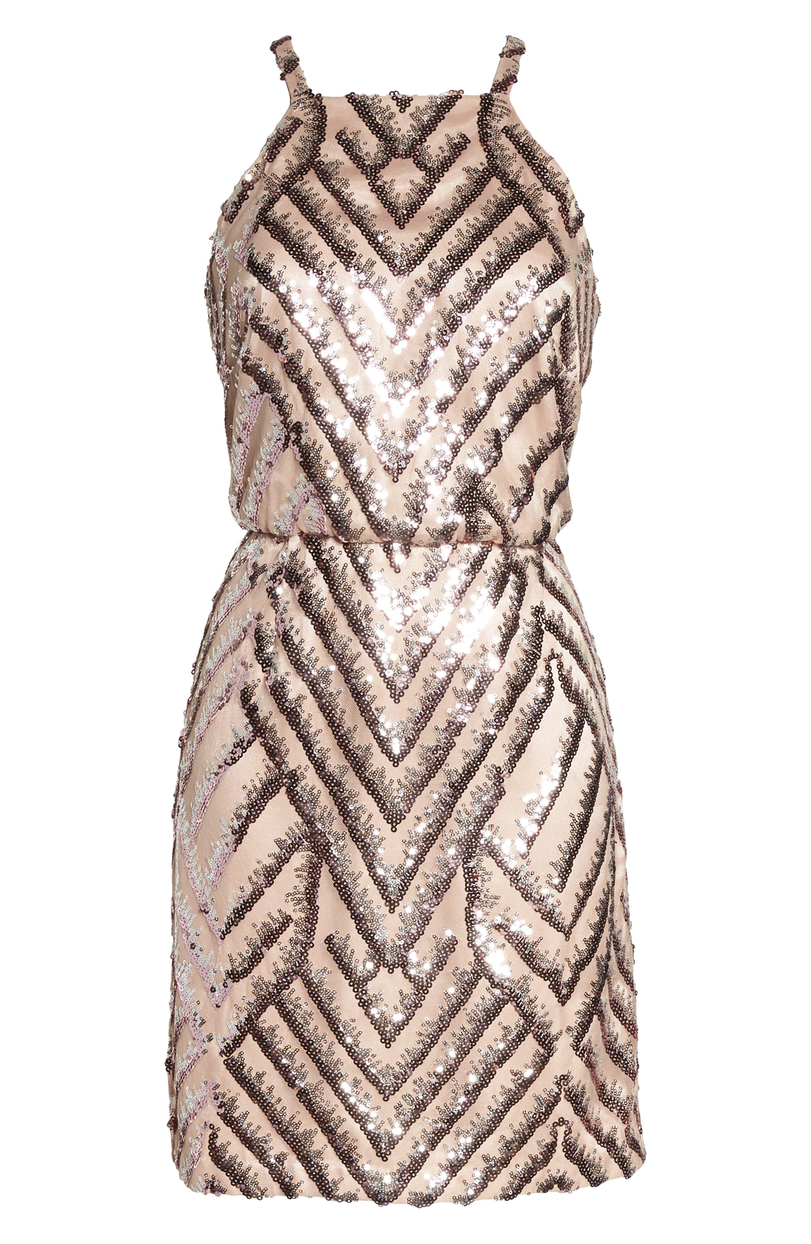 Sequin Blouson Dress,                             Alternate thumbnail 6, color,                             660
