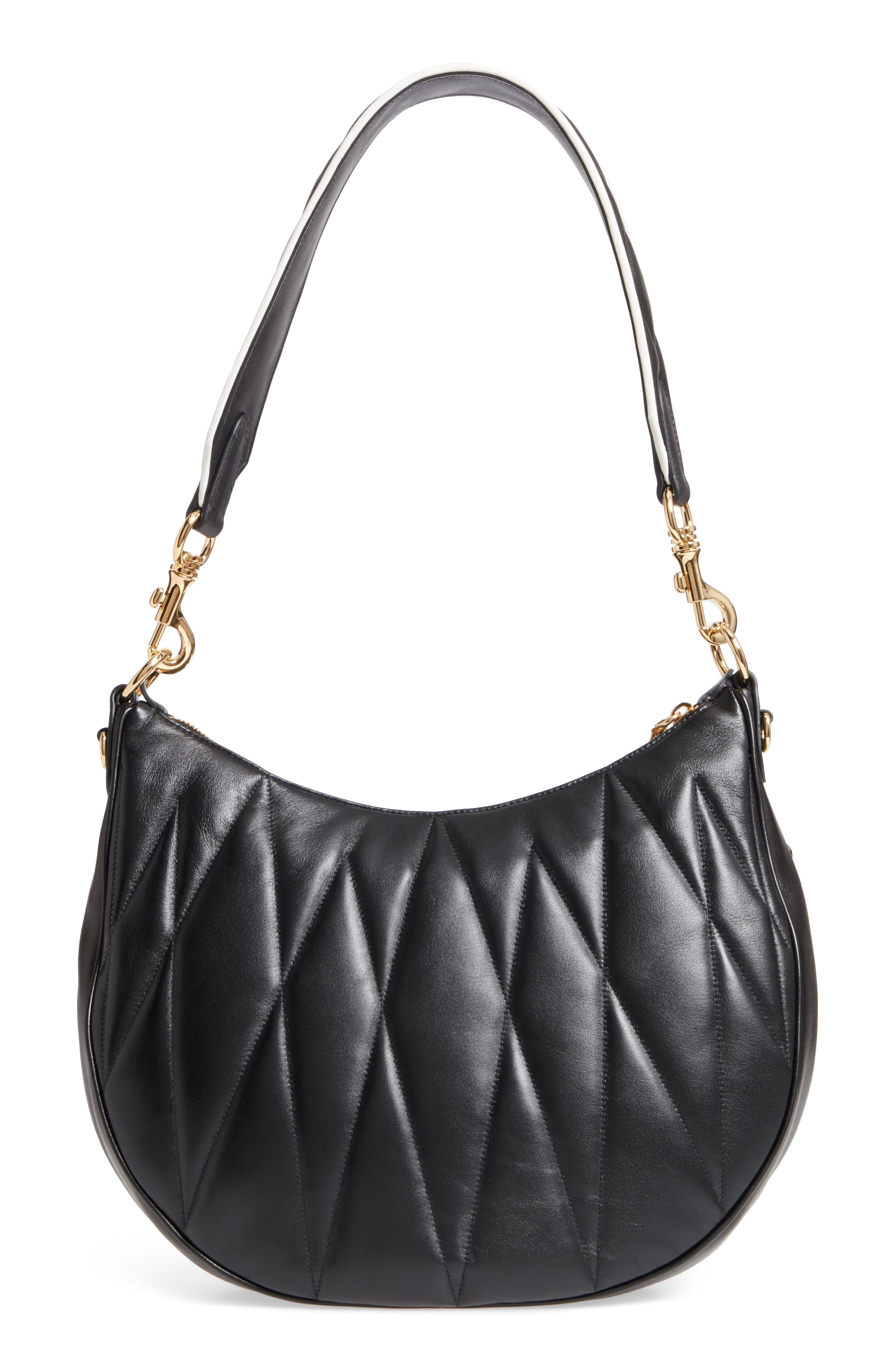 Large Rider Matelassé Leather Shoulder Bag,                             Alternate thumbnail 4, color,                             001