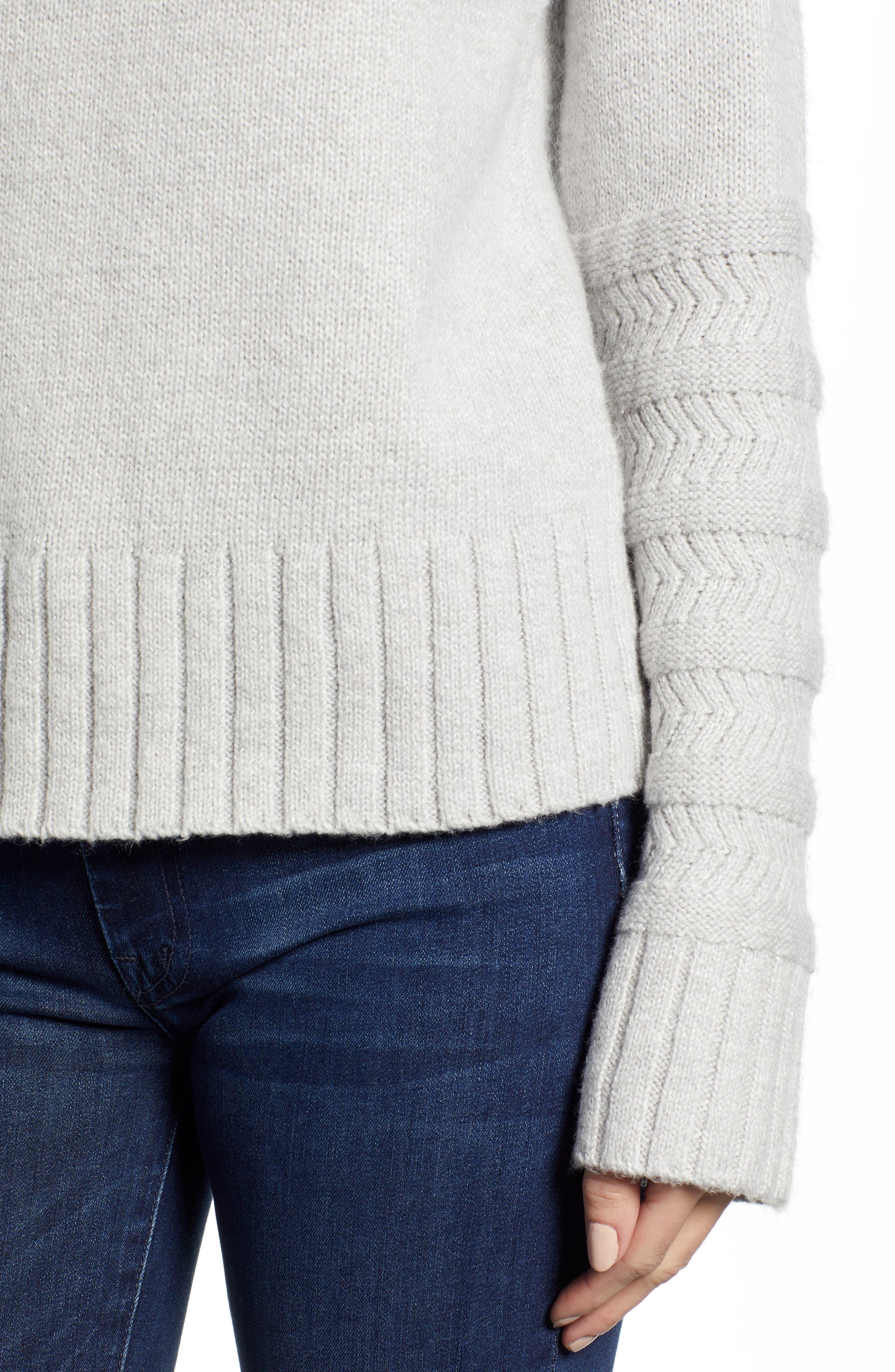 Turtleneck Sweater,                             Alternate thumbnail 4, color,                             GREY LIGHT HEATHER