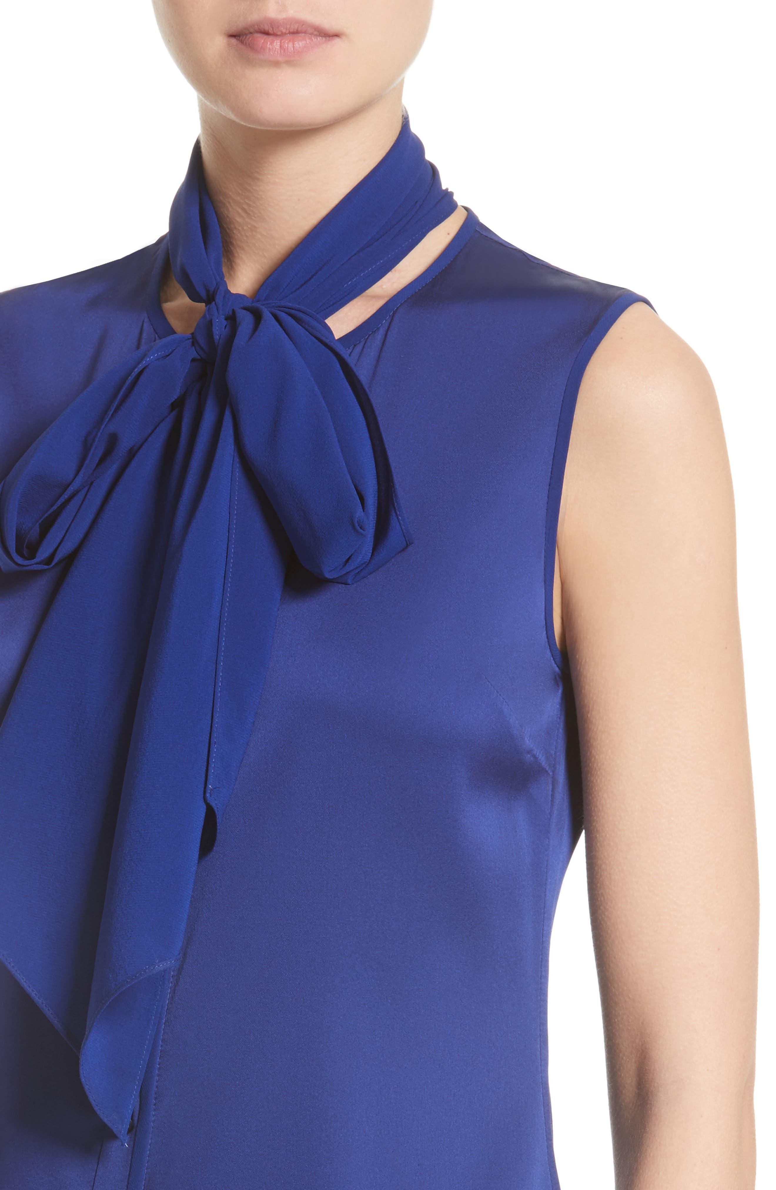 Removable Tie Stretch Silk Satin Georgette Blouse,                             Alternate thumbnail 5, color,                             430