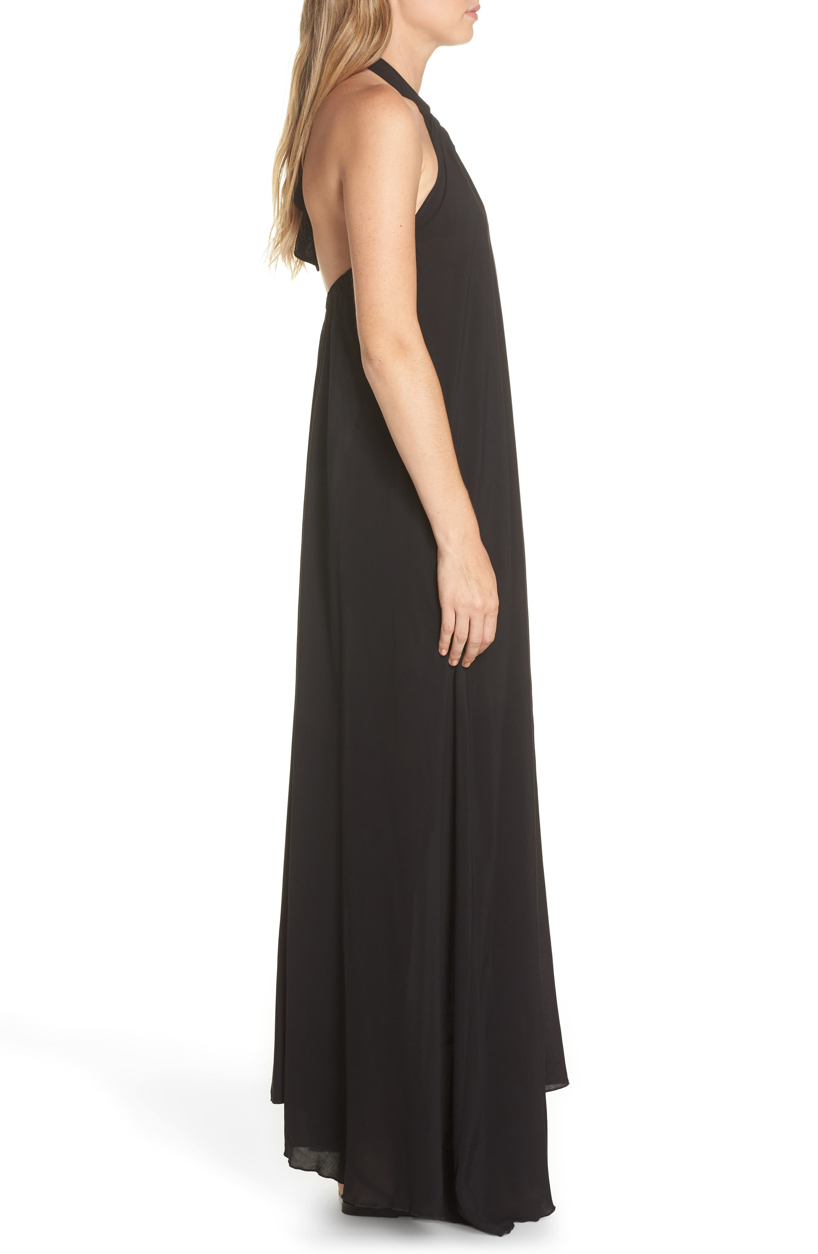 Cover-Up Maxi Dress,                             Alternate thumbnail 3, color,                             BLACK