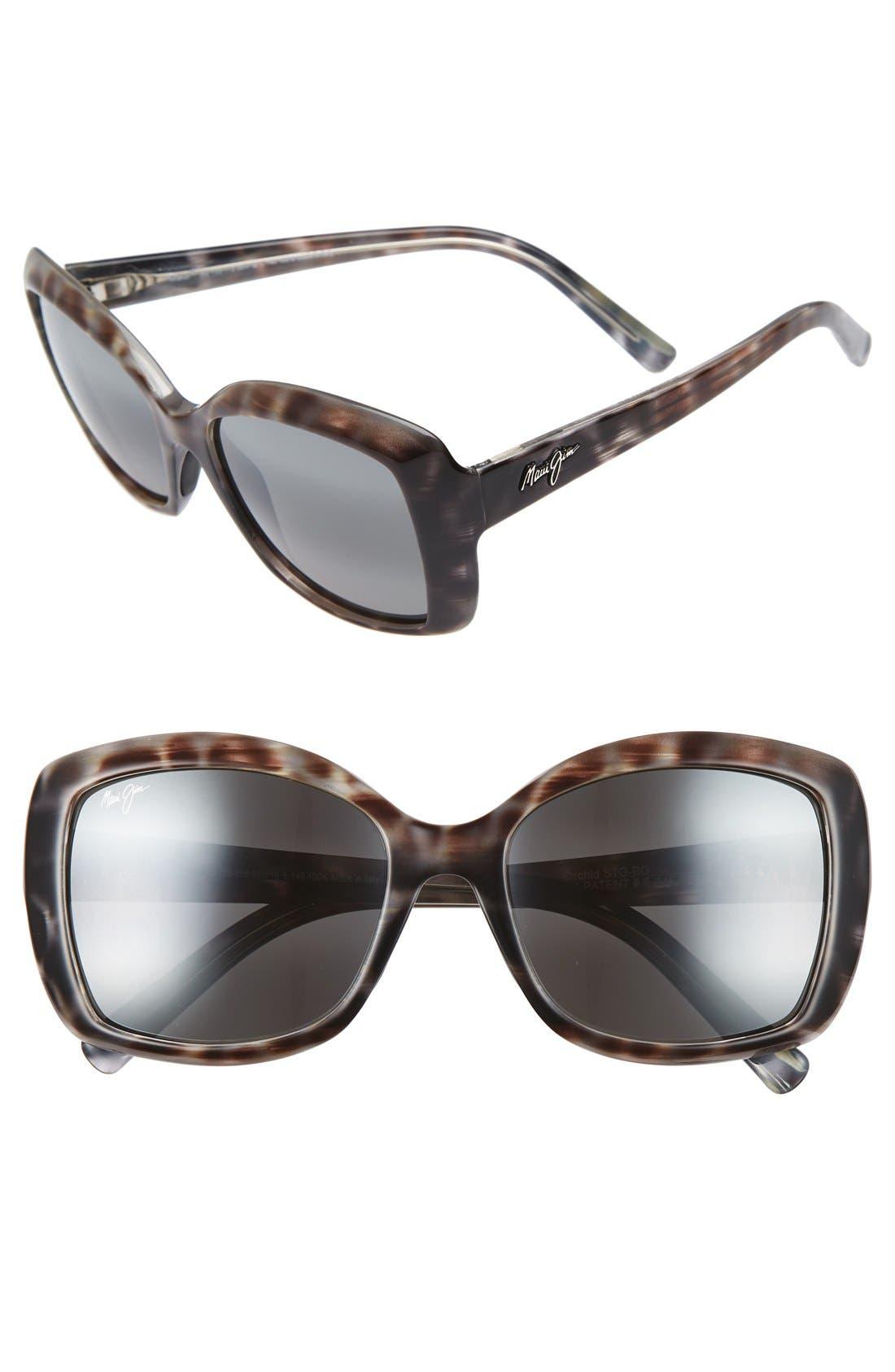 Orchid 56mm PolarizedPlus2<sup>®</sup> Sunglasses,                             Main thumbnail 1, color,                             GREY TORTOISE STRIPE/ GREY