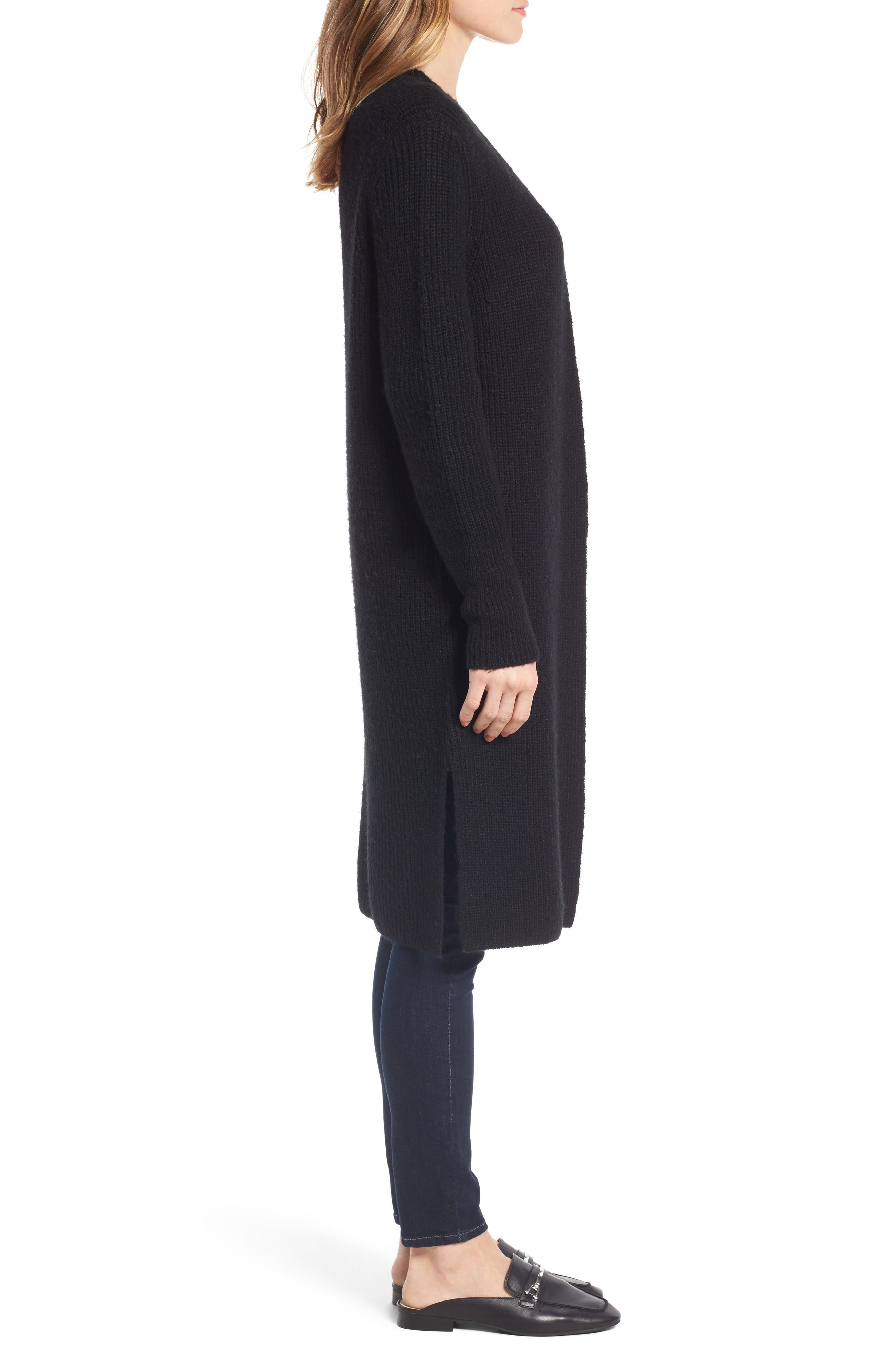Long Ribbed Cardigan,                             Alternate thumbnail 3, color,                             001