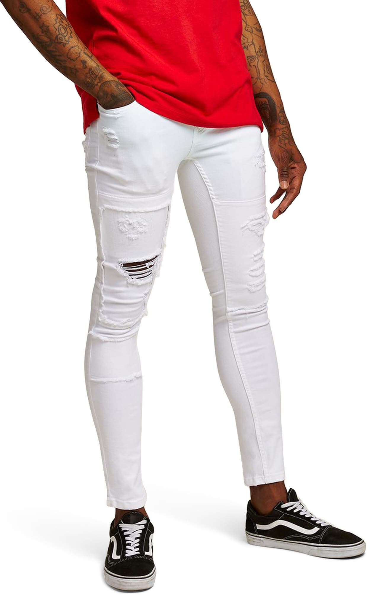 TOPMAN Spray-On Skinny Fit Ripped Jeans, Main, color, 100