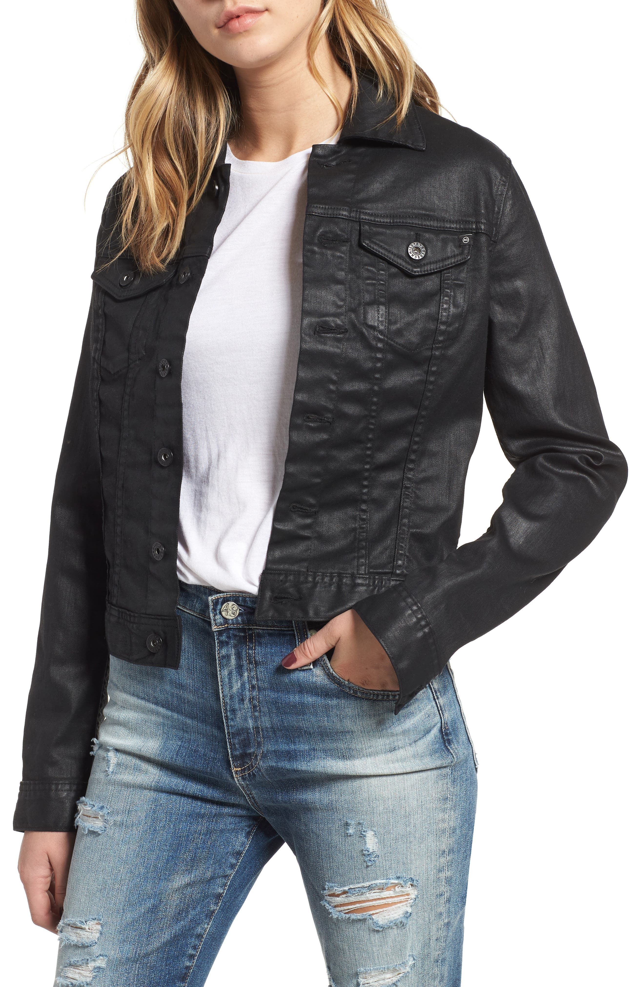'Robyn' Denim Jacket,                         Main,                         color, LACQUERED PURE BLACK