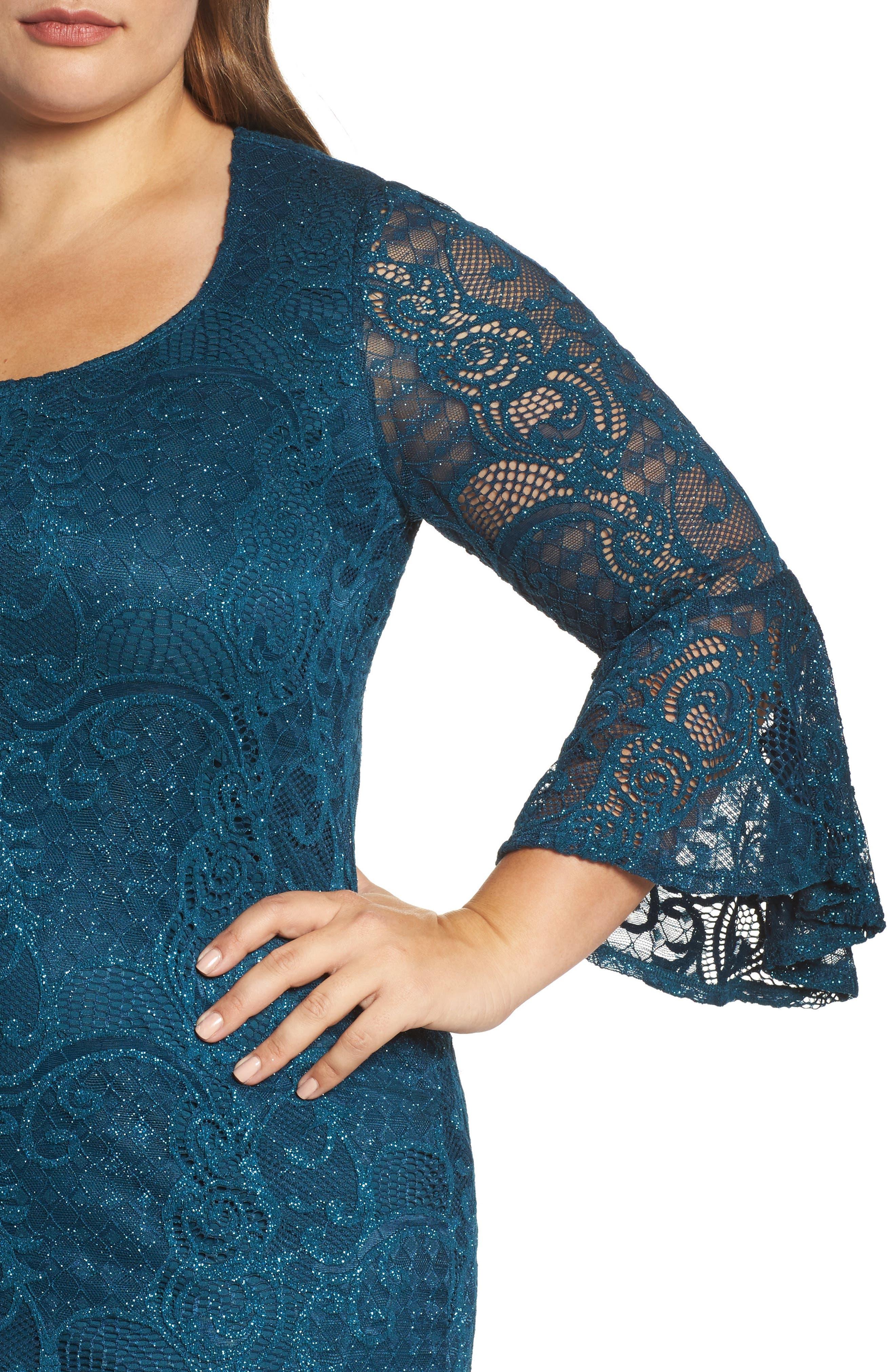 Bell Sleeve Glitter Lace Sheath Dress,                             Alternate thumbnail 4, color,                             412