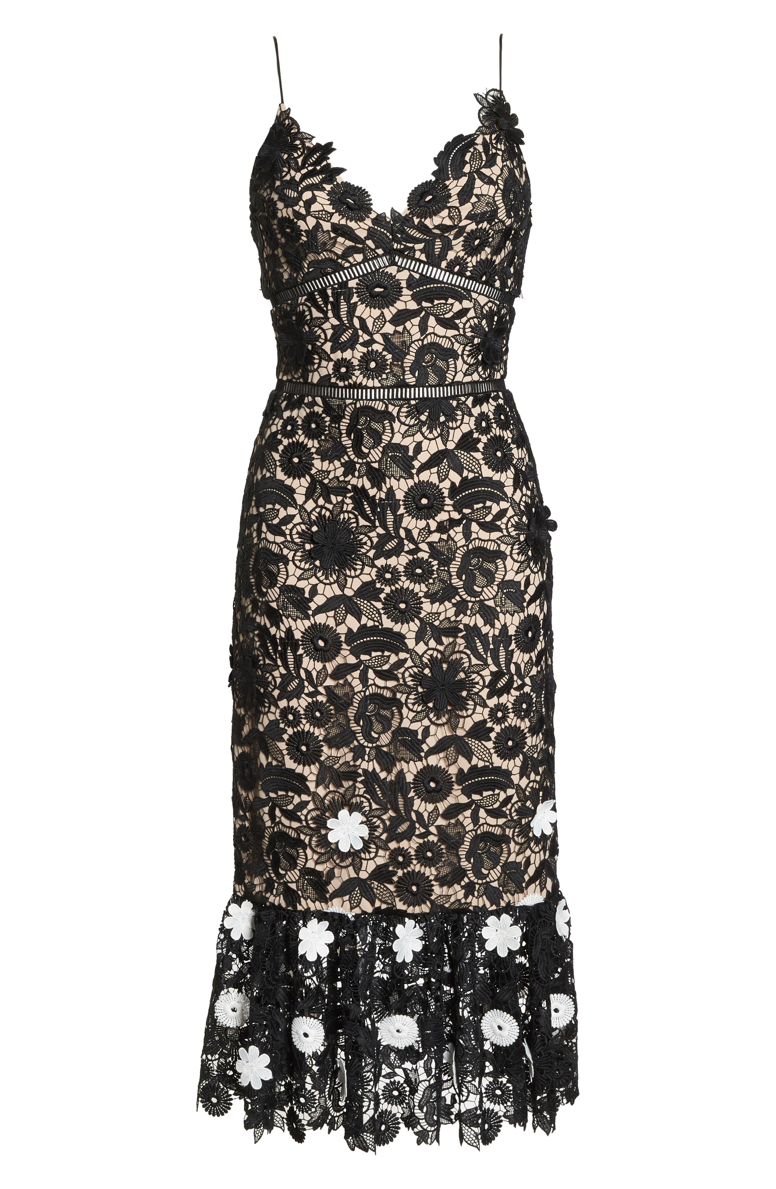 ML MONIQUE LHUILLIER,                             3D Floral Lace Cocktail Dress,                             Alternate thumbnail 6, color,                             001