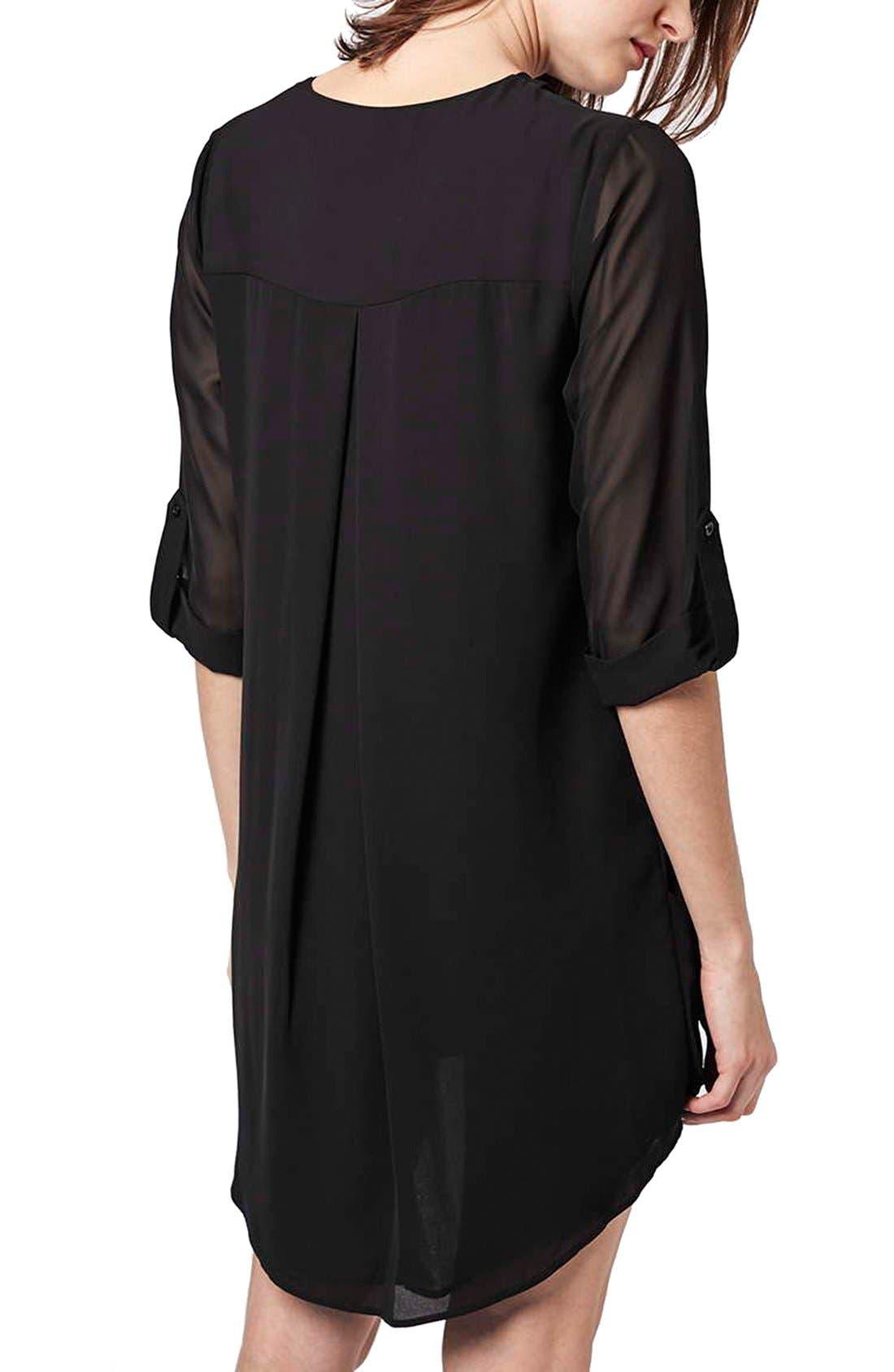 Chiffon Drape Tunic Dress,                             Alternate thumbnail 2, color,                             001