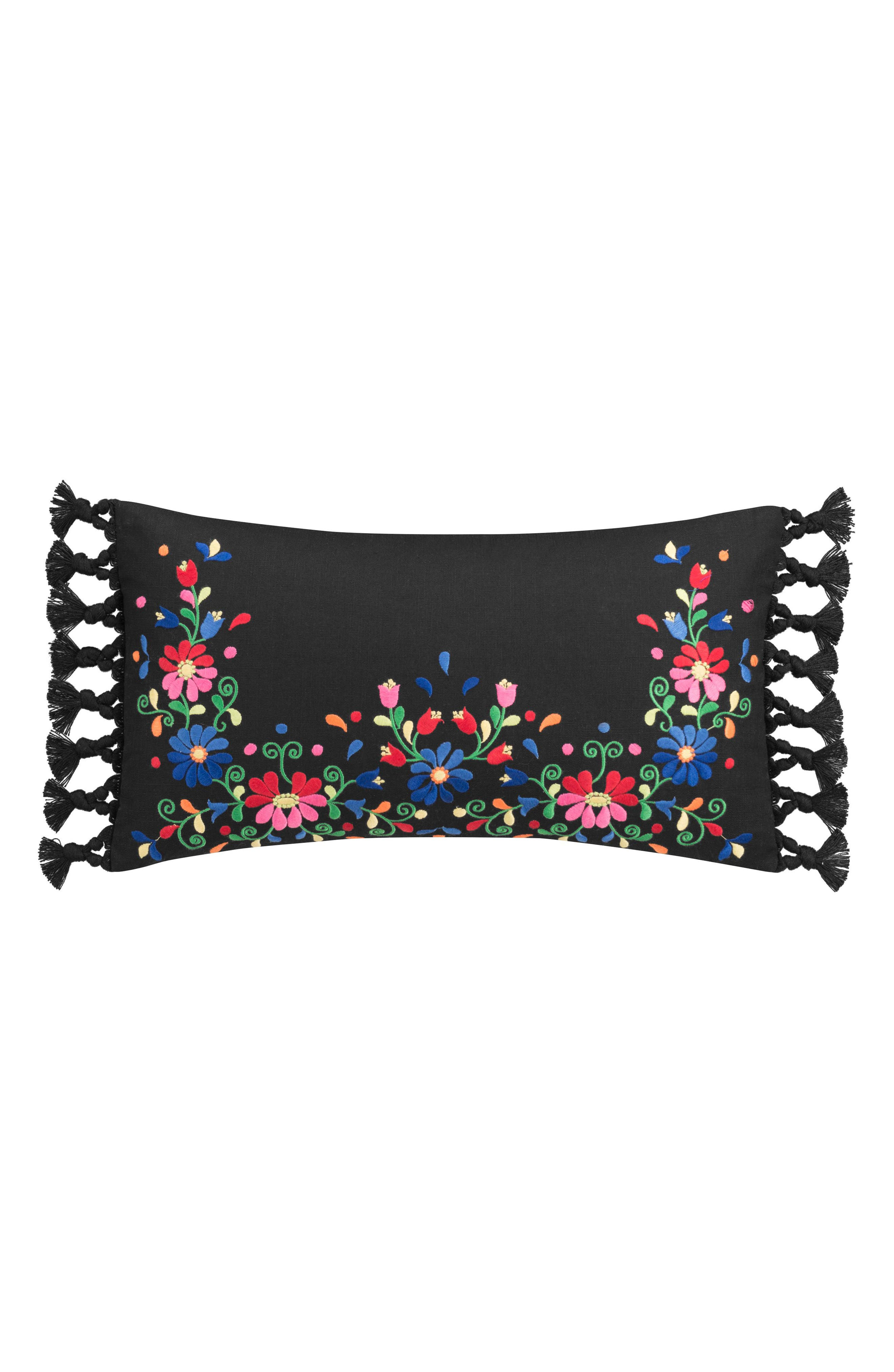 Folk Floral Embroidered Pillow,                         Main,                         color,