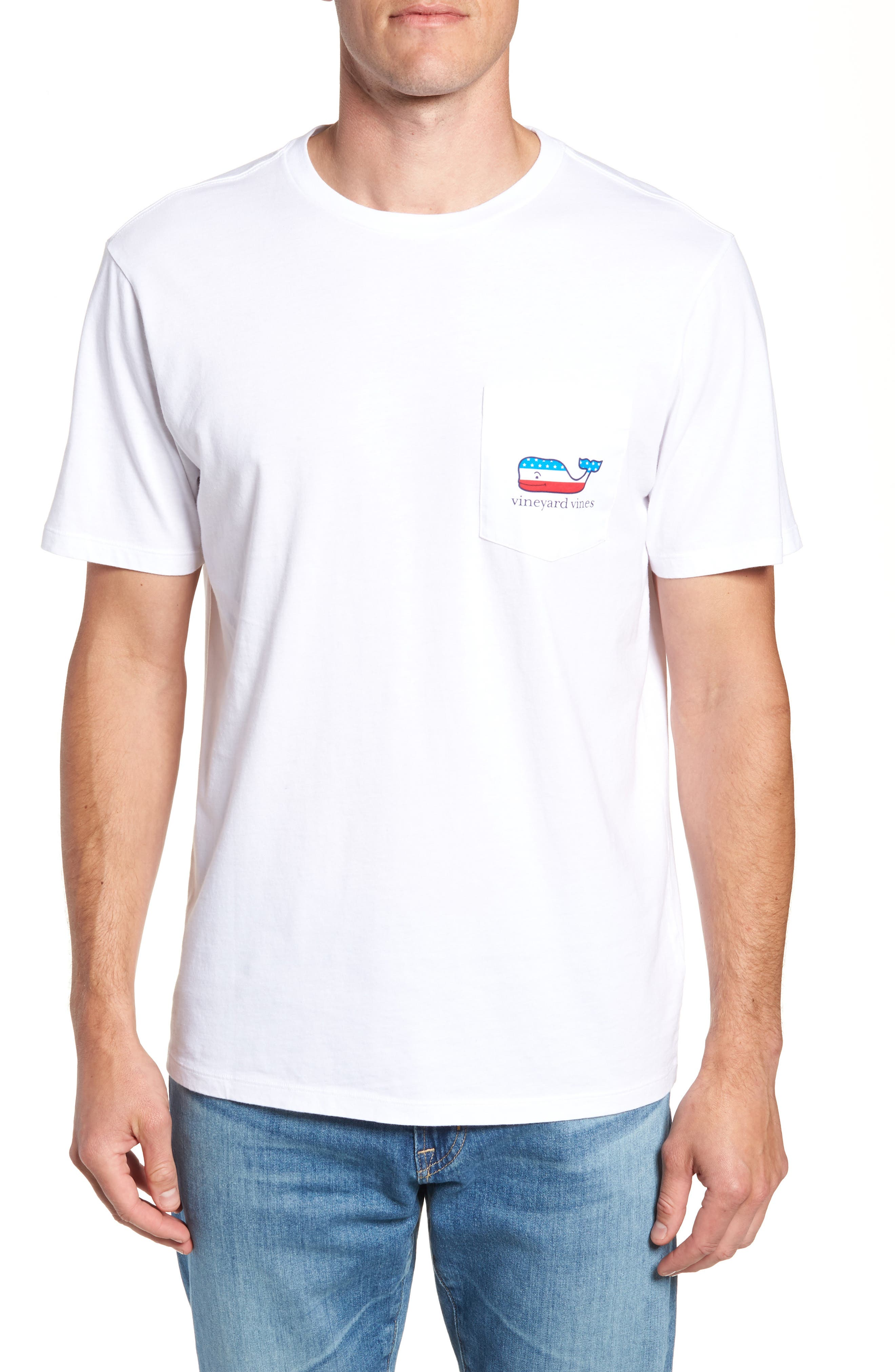 Whaley USA Whale Fill Pocket T-Shirt,                         Main,                         color, 100