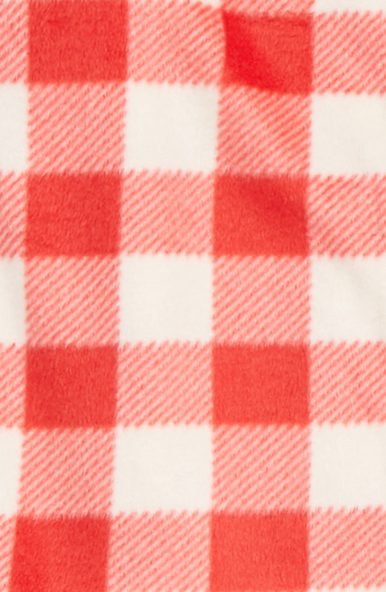 Collared Fleece Pajamas,                             Alternate thumbnail 2, color,                             RED BLOOM CHECK