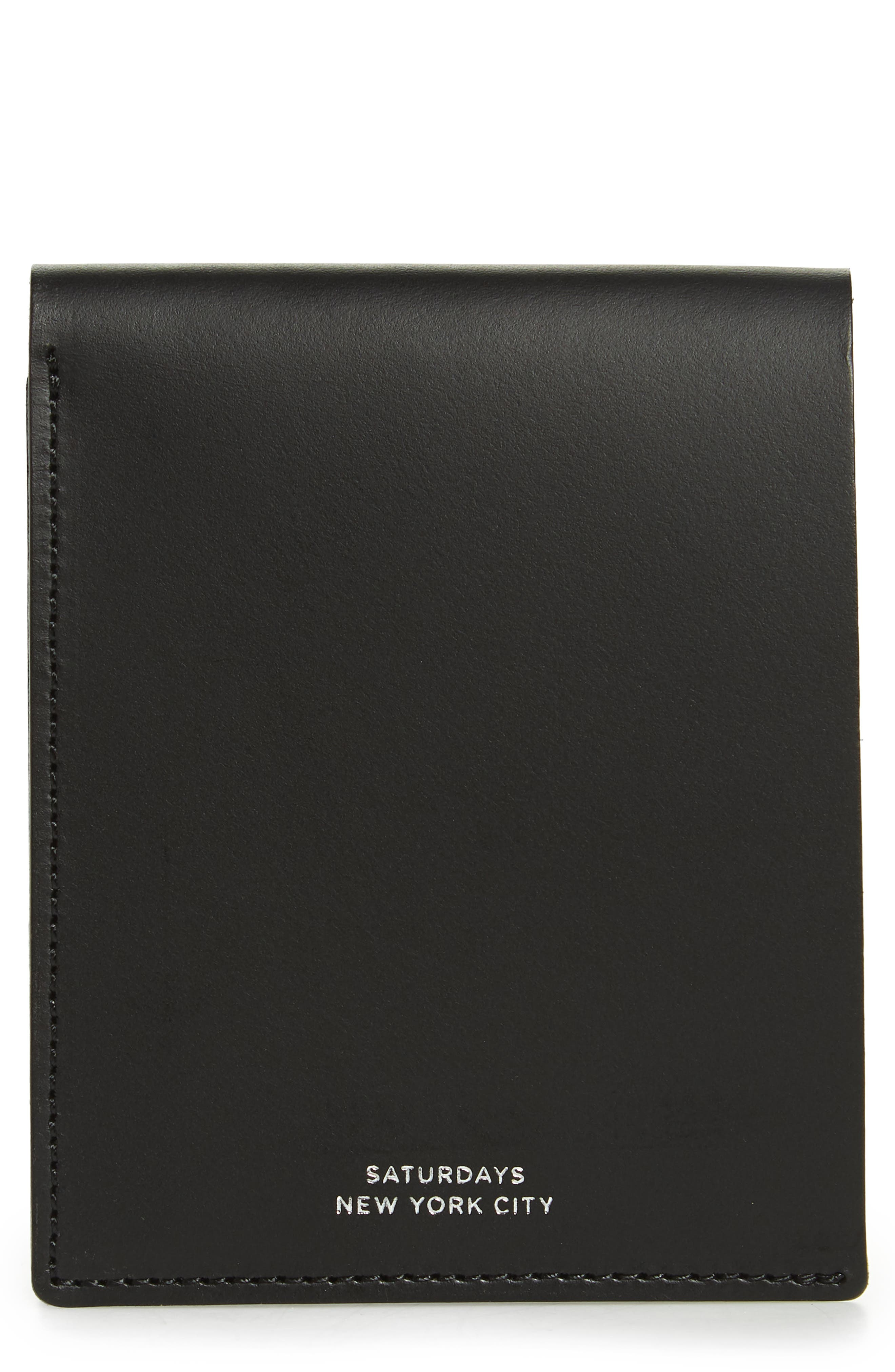 Bifold Leather Wallet,                             Main thumbnail 1, color,                             BLACK