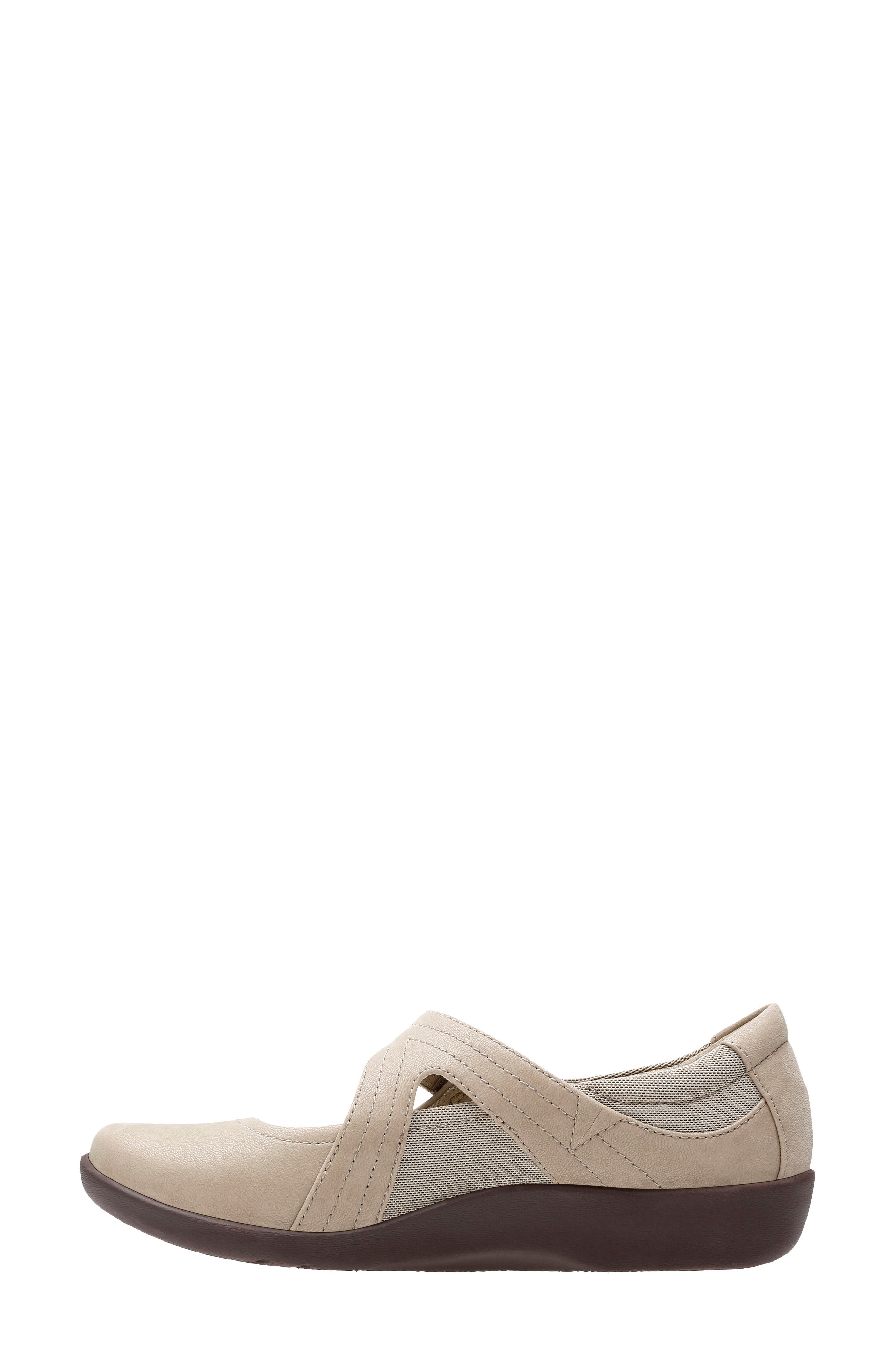 CLARKS<SUP>®</SUP>,                             Sillian Bella Mary Jane Flat,                             Alternate thumbnail 7, color,                             SAND SYNTHETIC NUBUCK