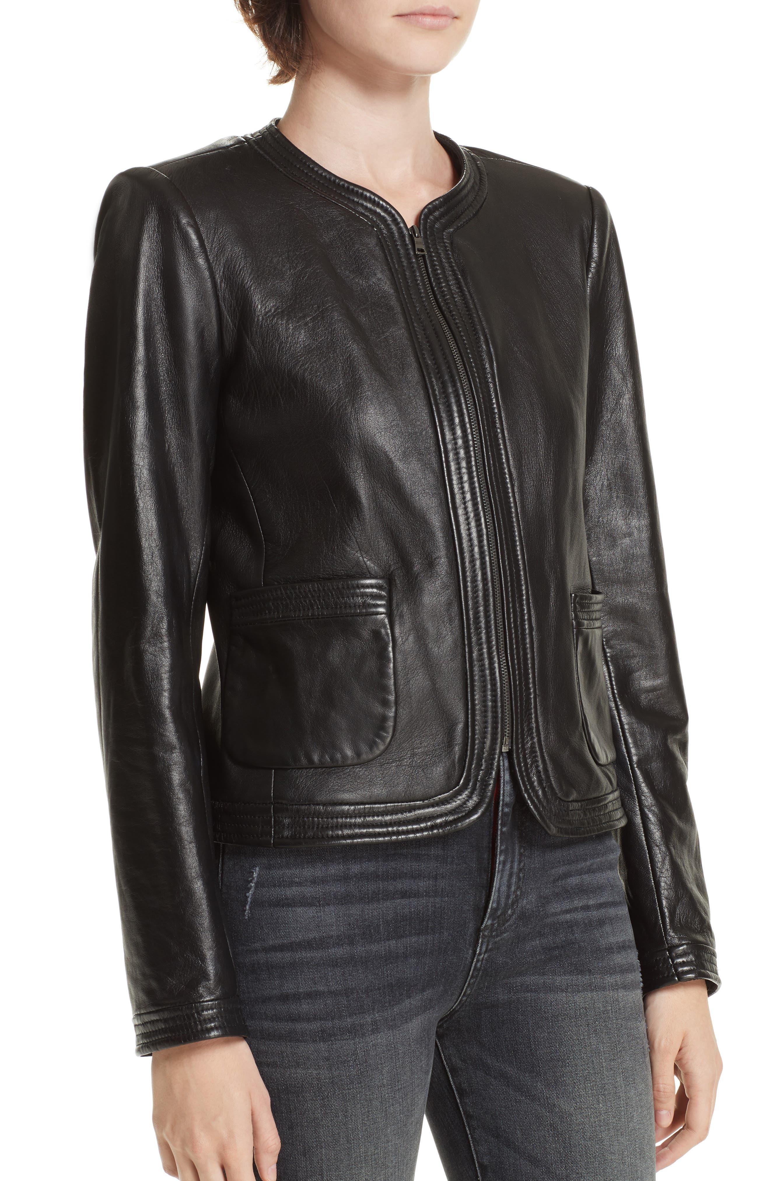 Leather Jacket,                             Alternate thumbnail 4, color,                             001