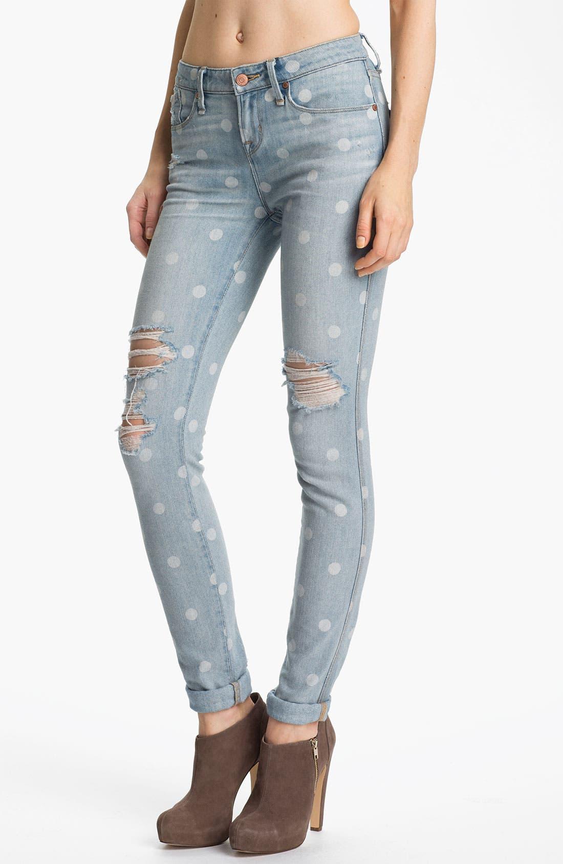 Distressed Print Skinny Jeans, Main, color, 400