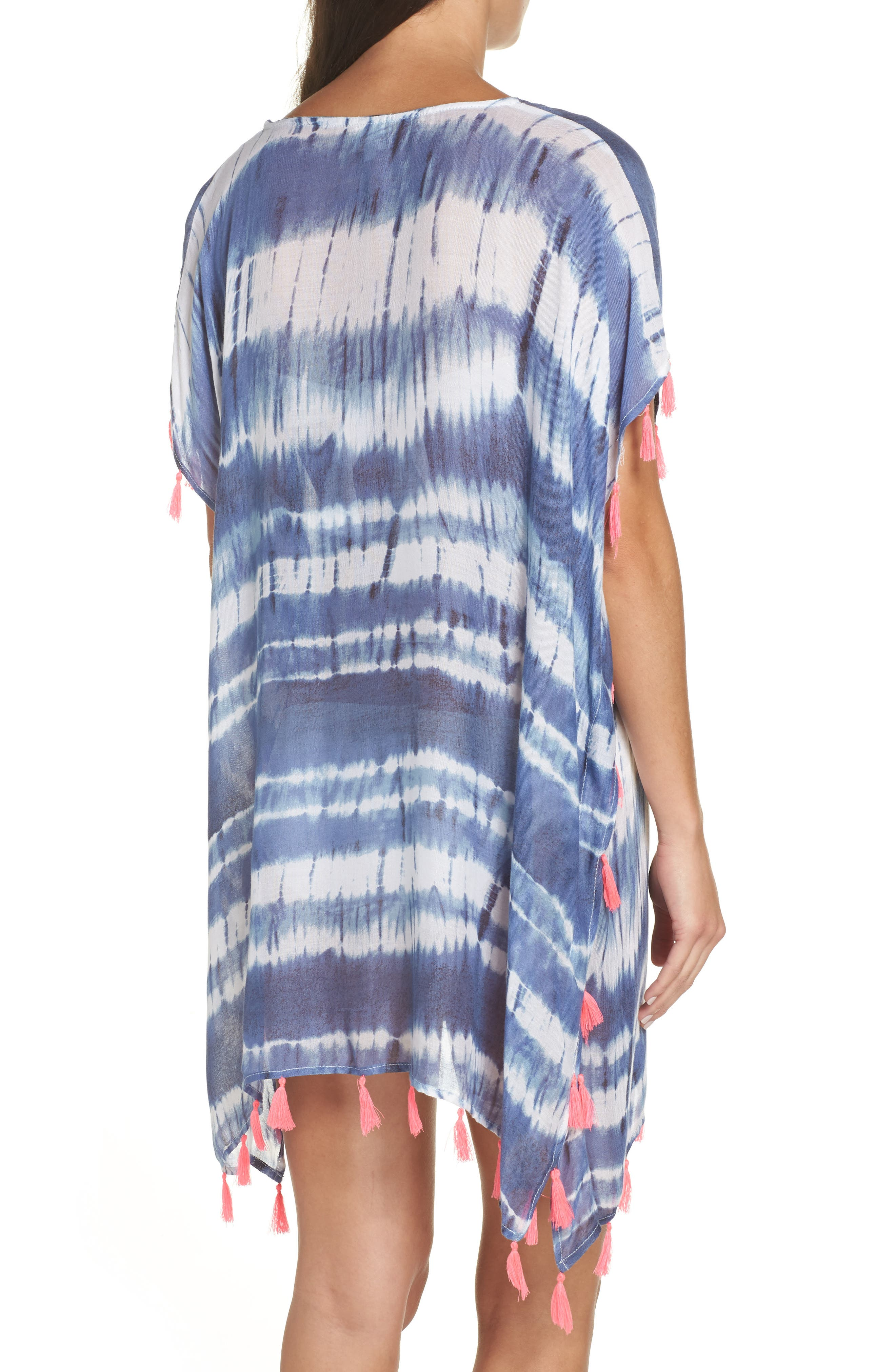 Stripe Tassel Cover-Up Poncho,                             Alternate thumbnail 2, color,                             DEEP MARINE