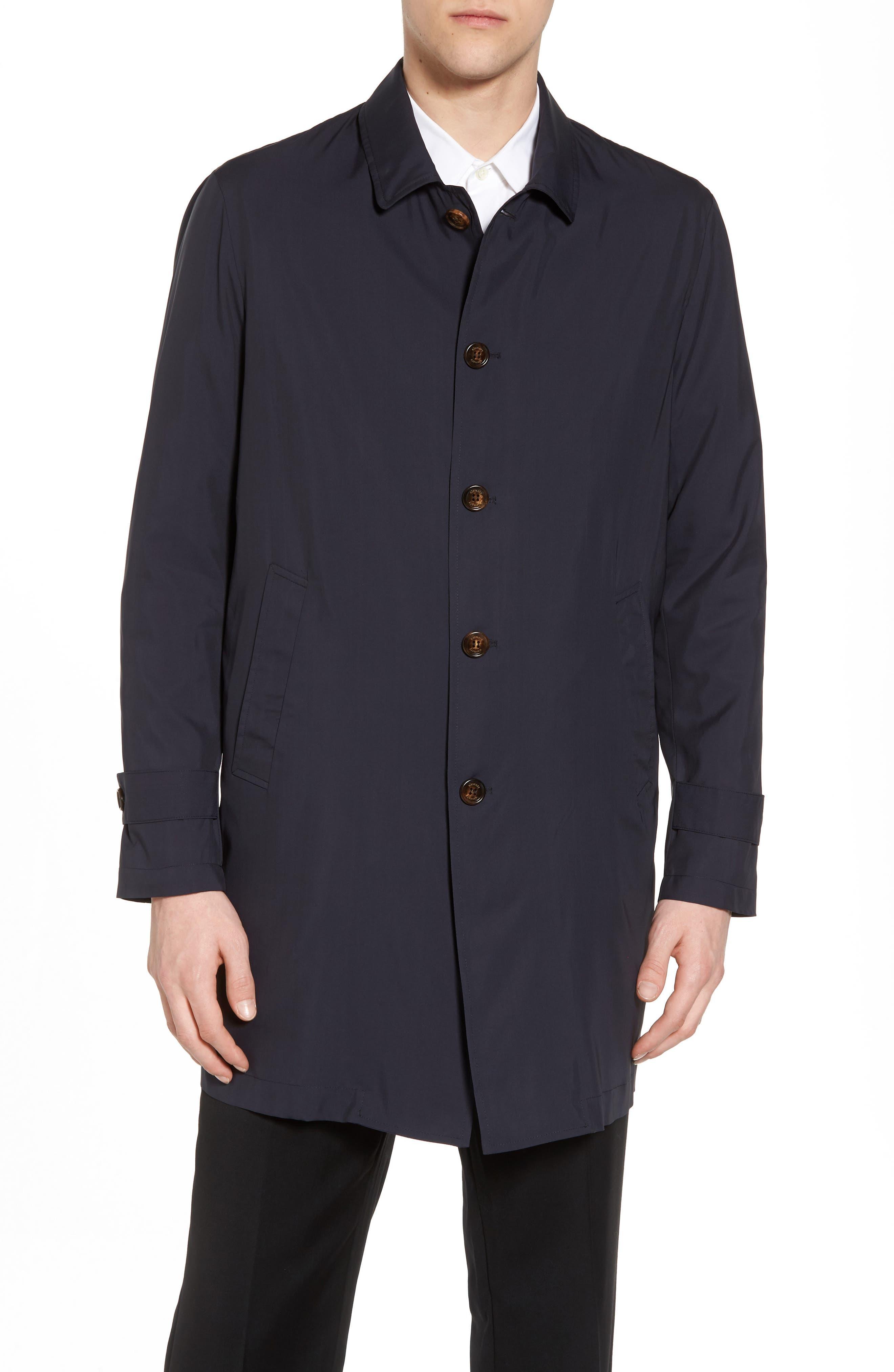 Trim Fit Water-Resistant Silk Topcoat,                             Alternate thumbnail 4, color,                             410