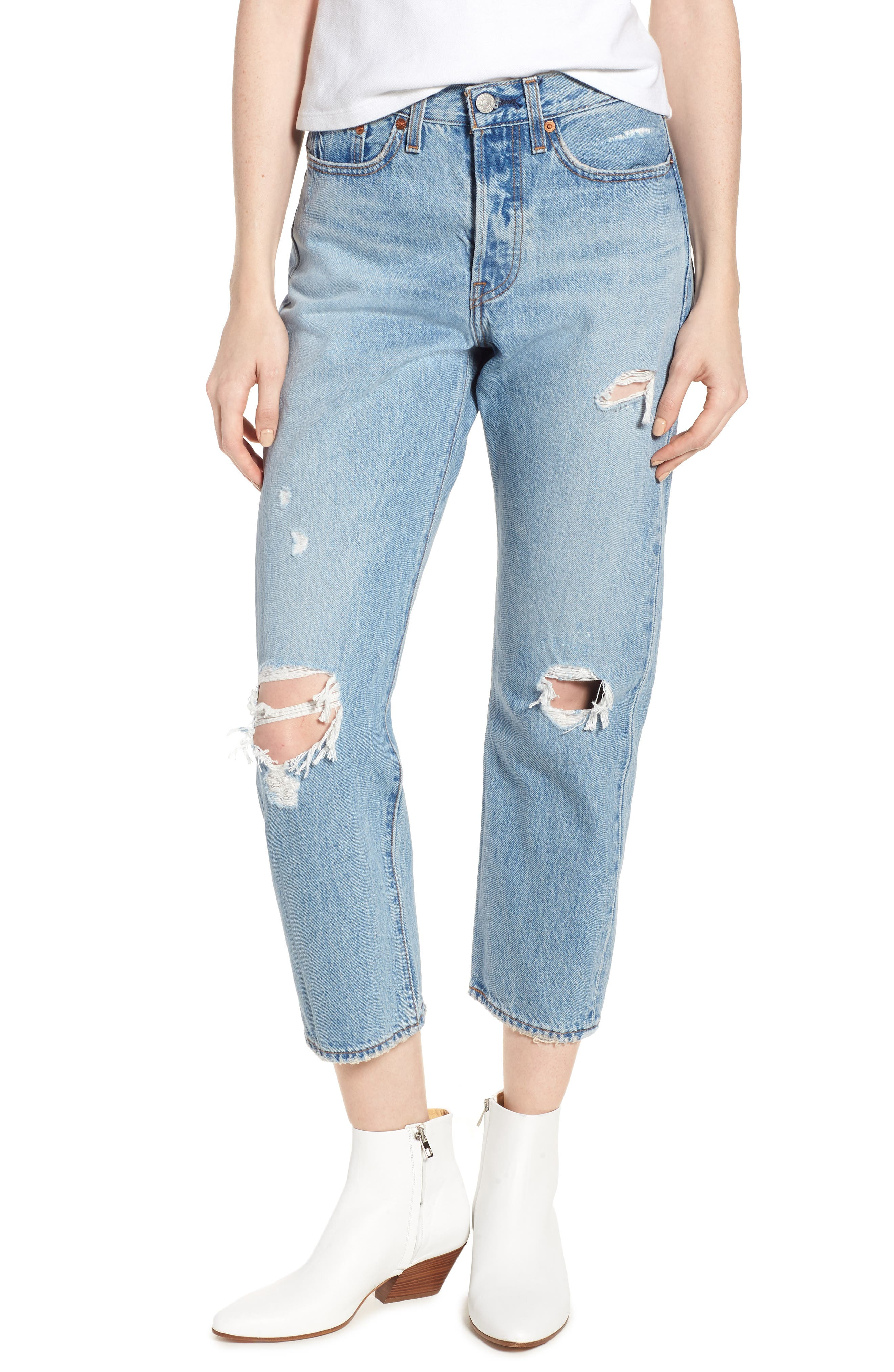 Wedgie Ripped Straight Leg Jeans,                             Main thumbnail 1, color,                             AUTHENTICALLY YOURS