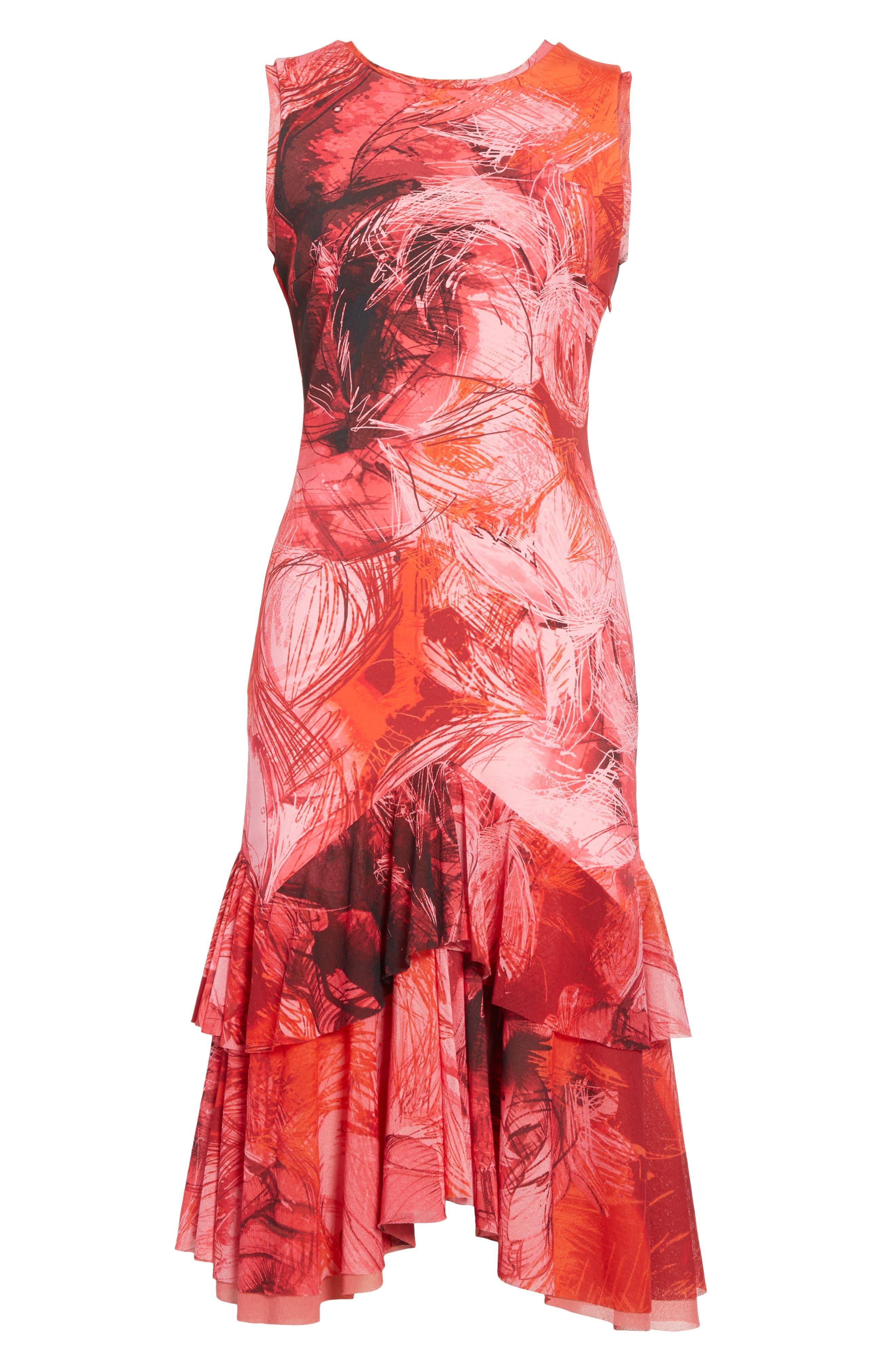 Print Tulle Ruffle Hem Dress,                             Alternate thumbnail 6, color,