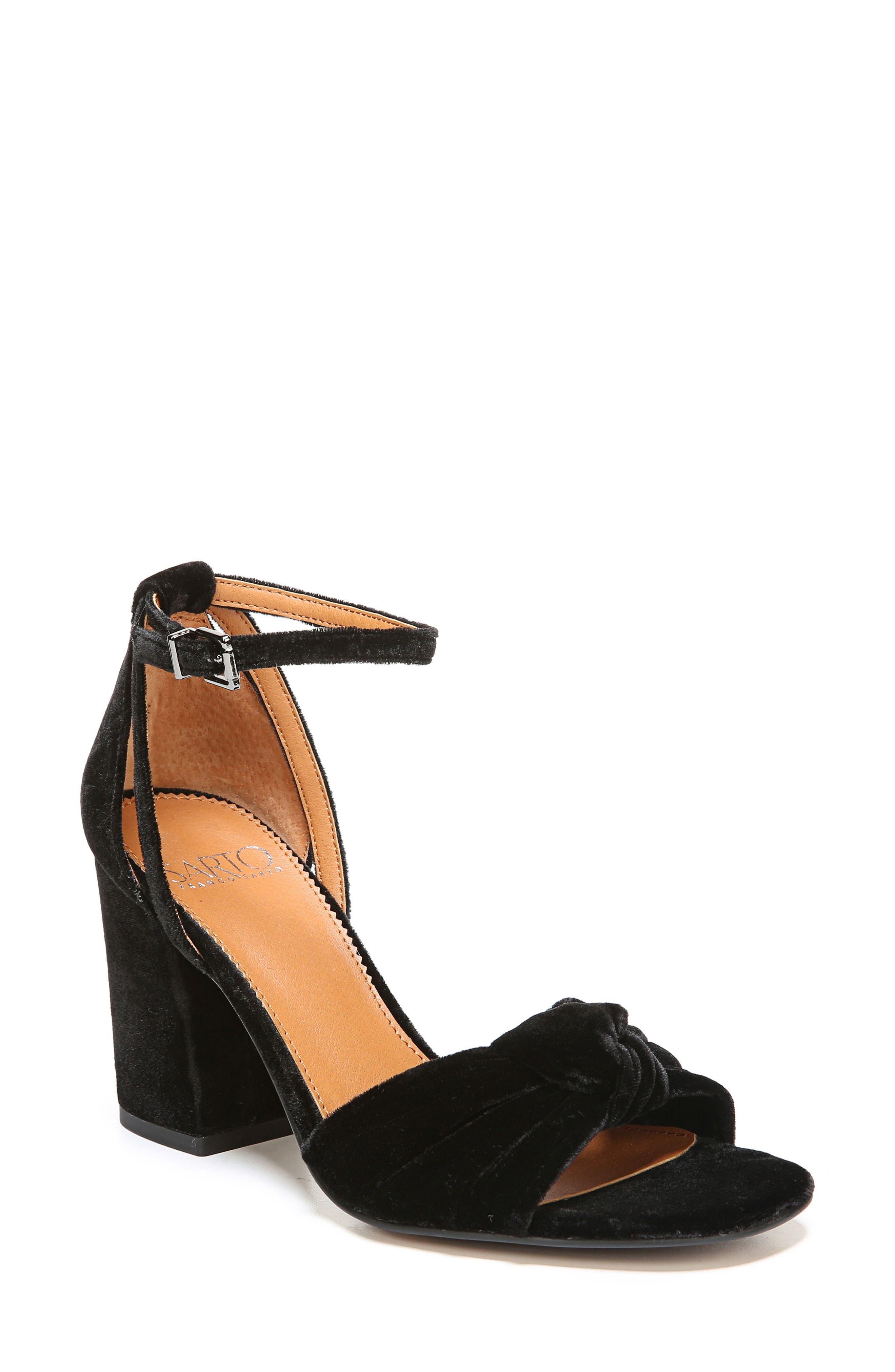 Edana Knotted Block Heel Sandal,                             Main thumbnail 1, color,                             001