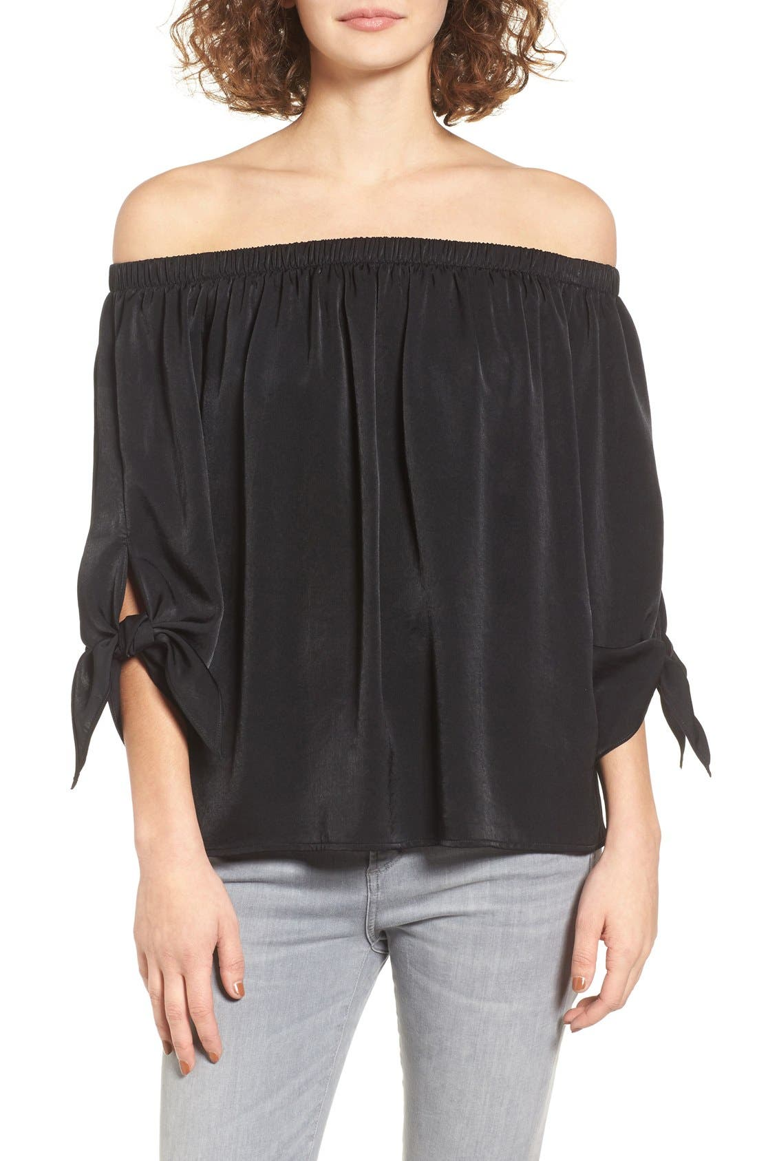 Tie Sleeve Off the Shoulder Top,                             Main thumbnail 1, color,                             001
