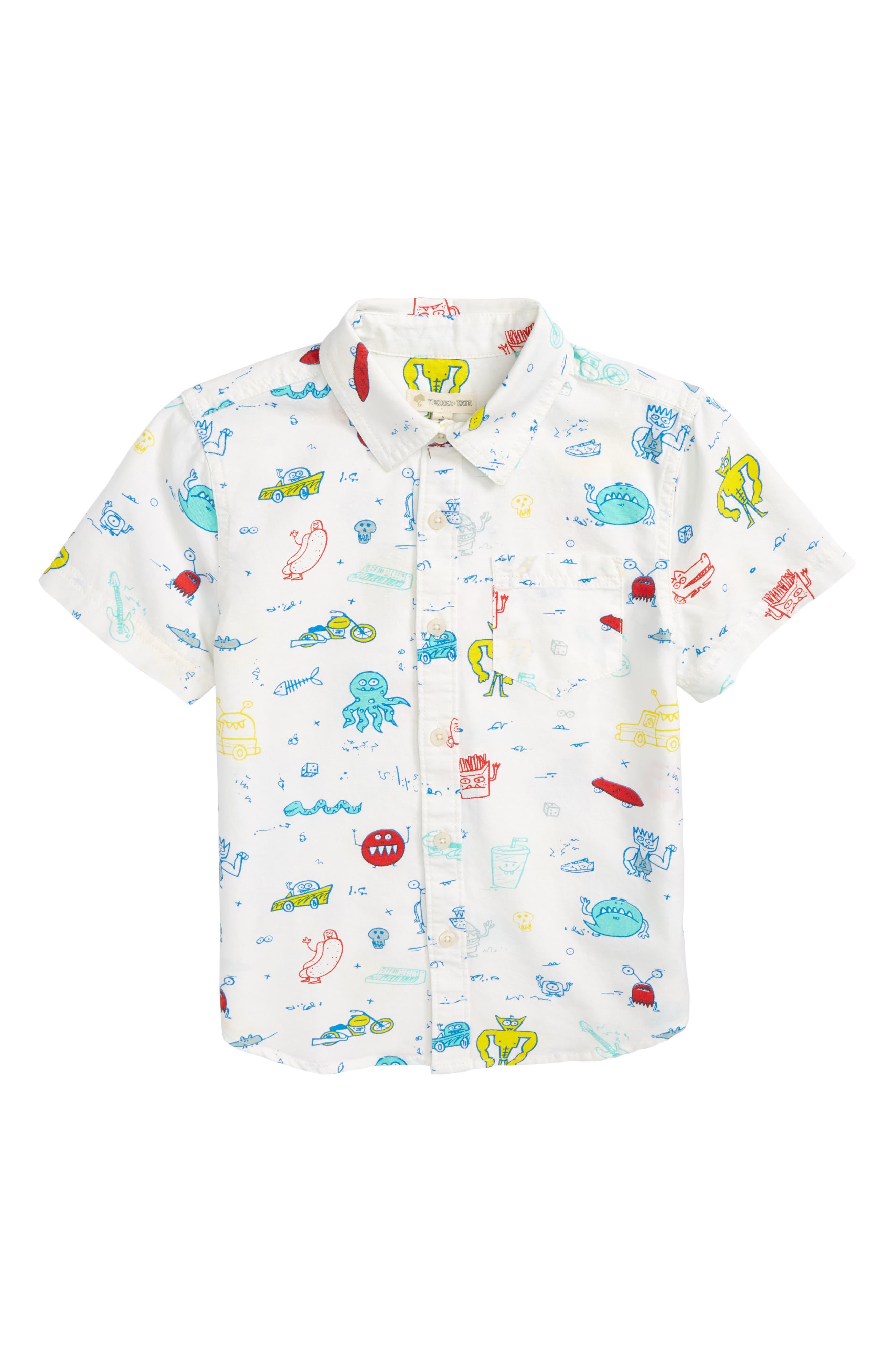 Print Woven Shirt,                             Main thumbnail 1, color,                             100