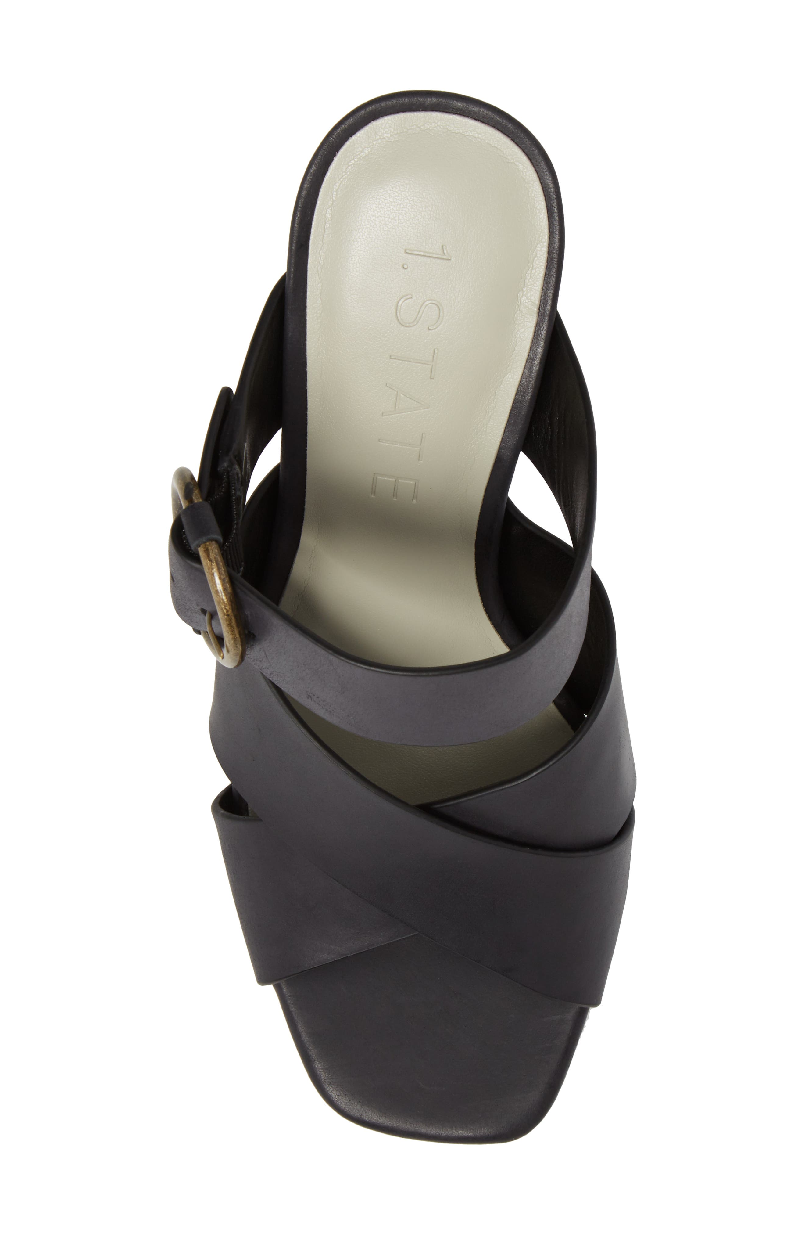 Icendra Flared Heel Mule Sandal,                             Alternate thumbnail 5, color,                             BLACK LEATHER