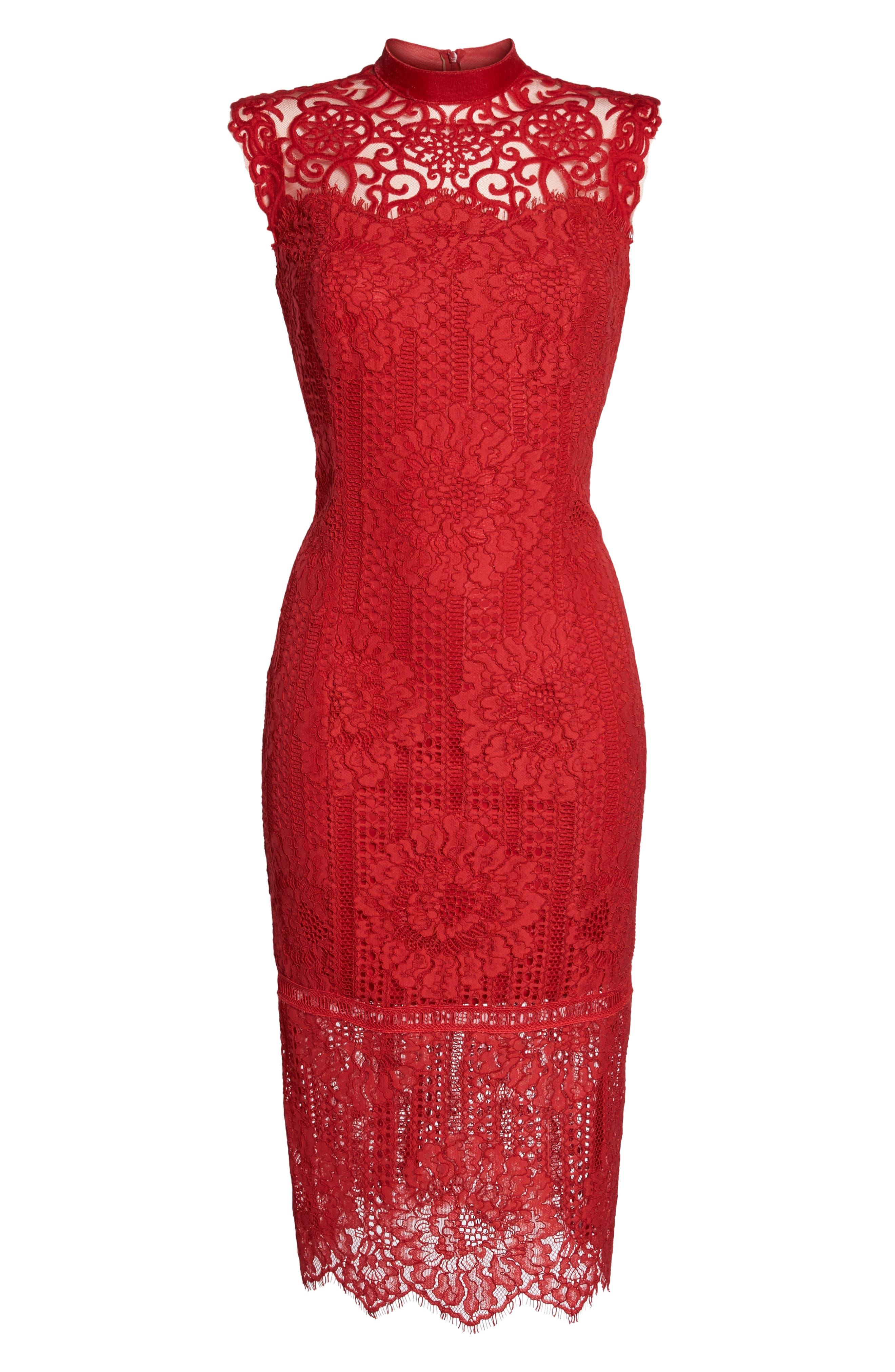 High Neck Stripe Lace Sheath Dress,                             Alternate thumbnail 6, color,                             615