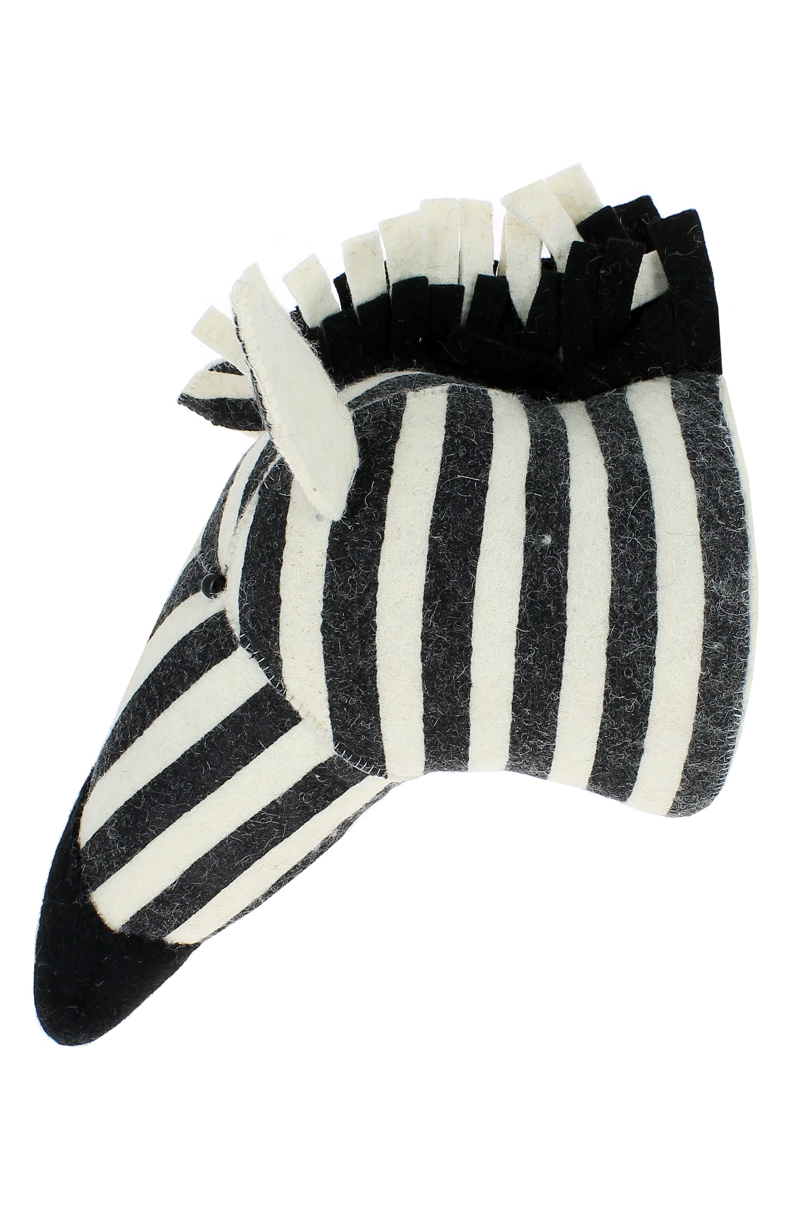 Stripe Zebra Head Wall Art,                             Alternate thumbnail 2, color,                             WHITE