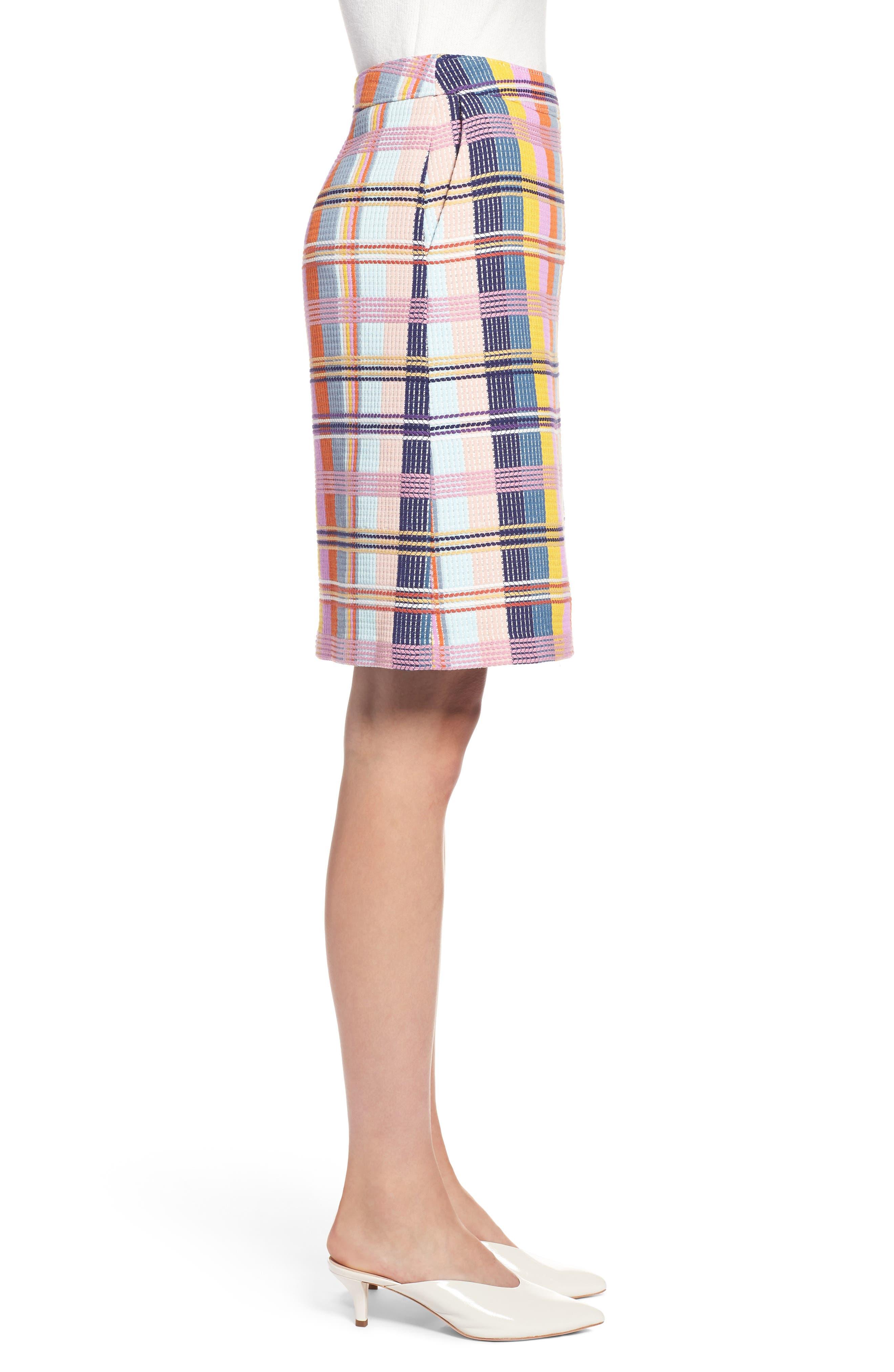 Plaid Tweed Pencil Skirt,                             Alternate thumbnail 3, color,                             BLUE MULTI TWEED