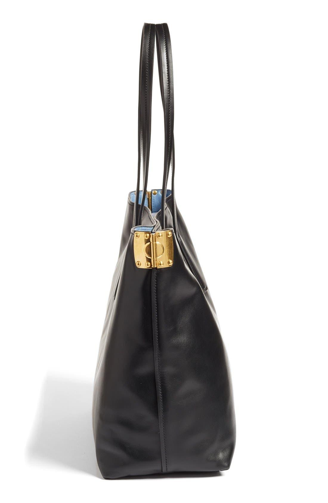 Large Calfskin Leather Shopper,                             Alternate thumbnail 5, color,                             905