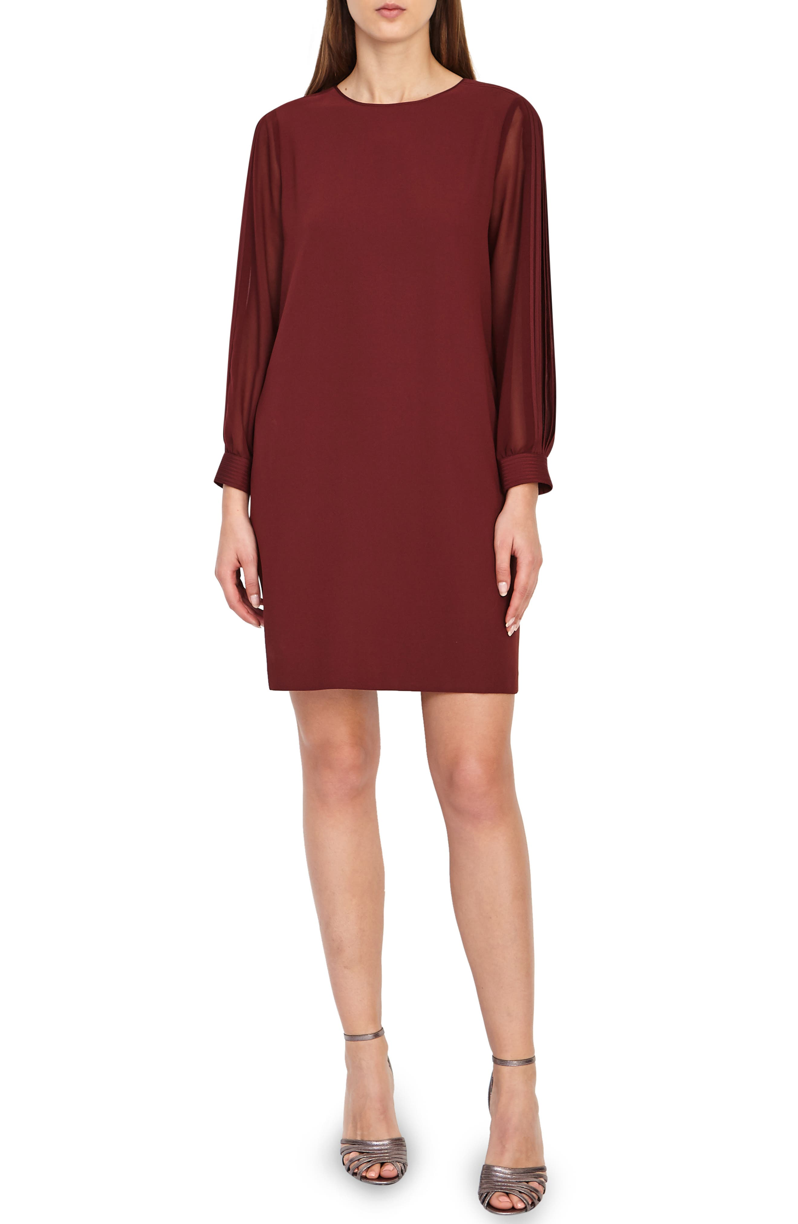 REISS Amerie Pleat Sleeve Shirtdress in Berry
