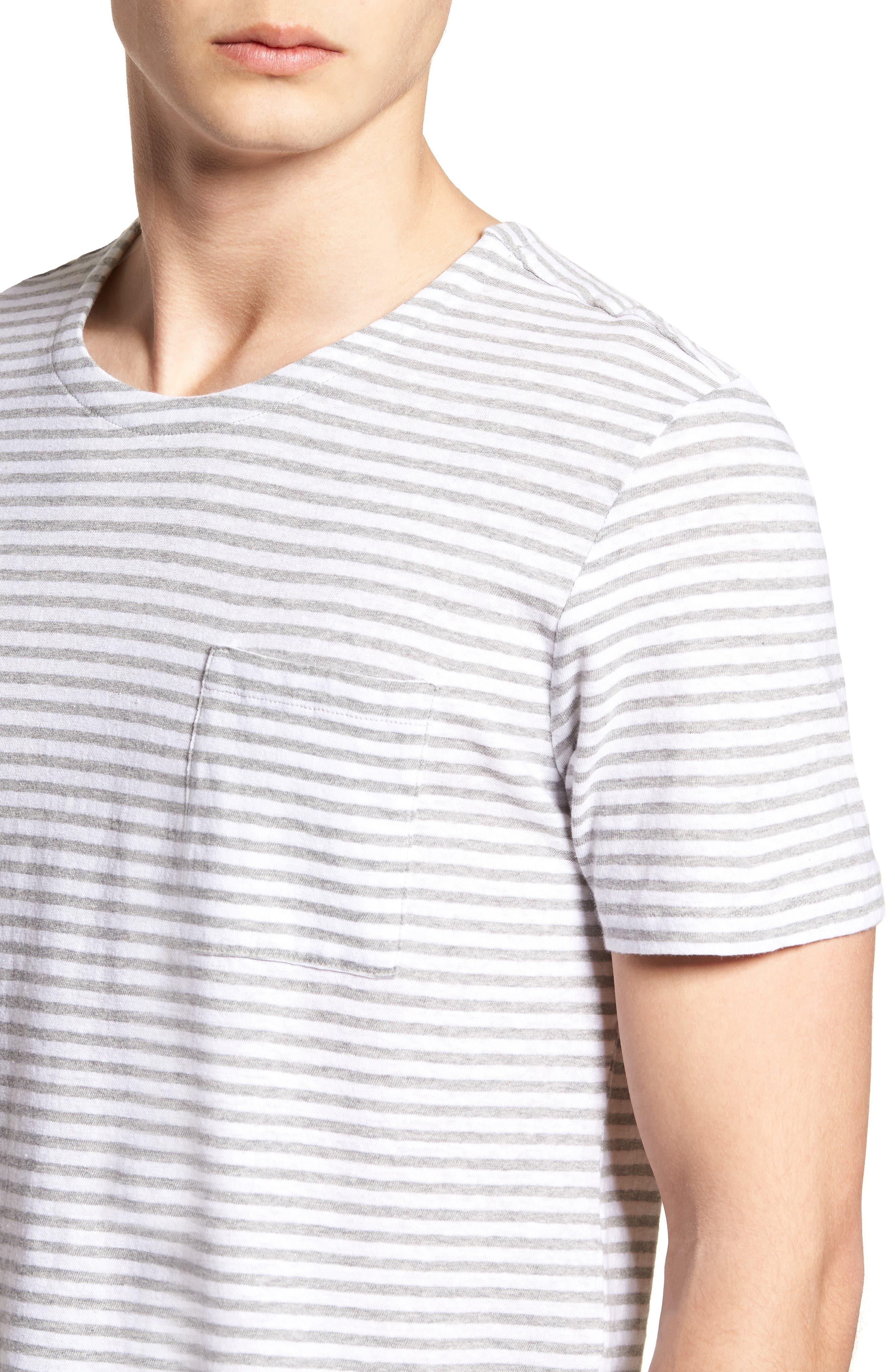& Bros. Stripe Crewneck T-Shirt,                             Alternate thumbnail 4, color,                             WHITE STRIPE