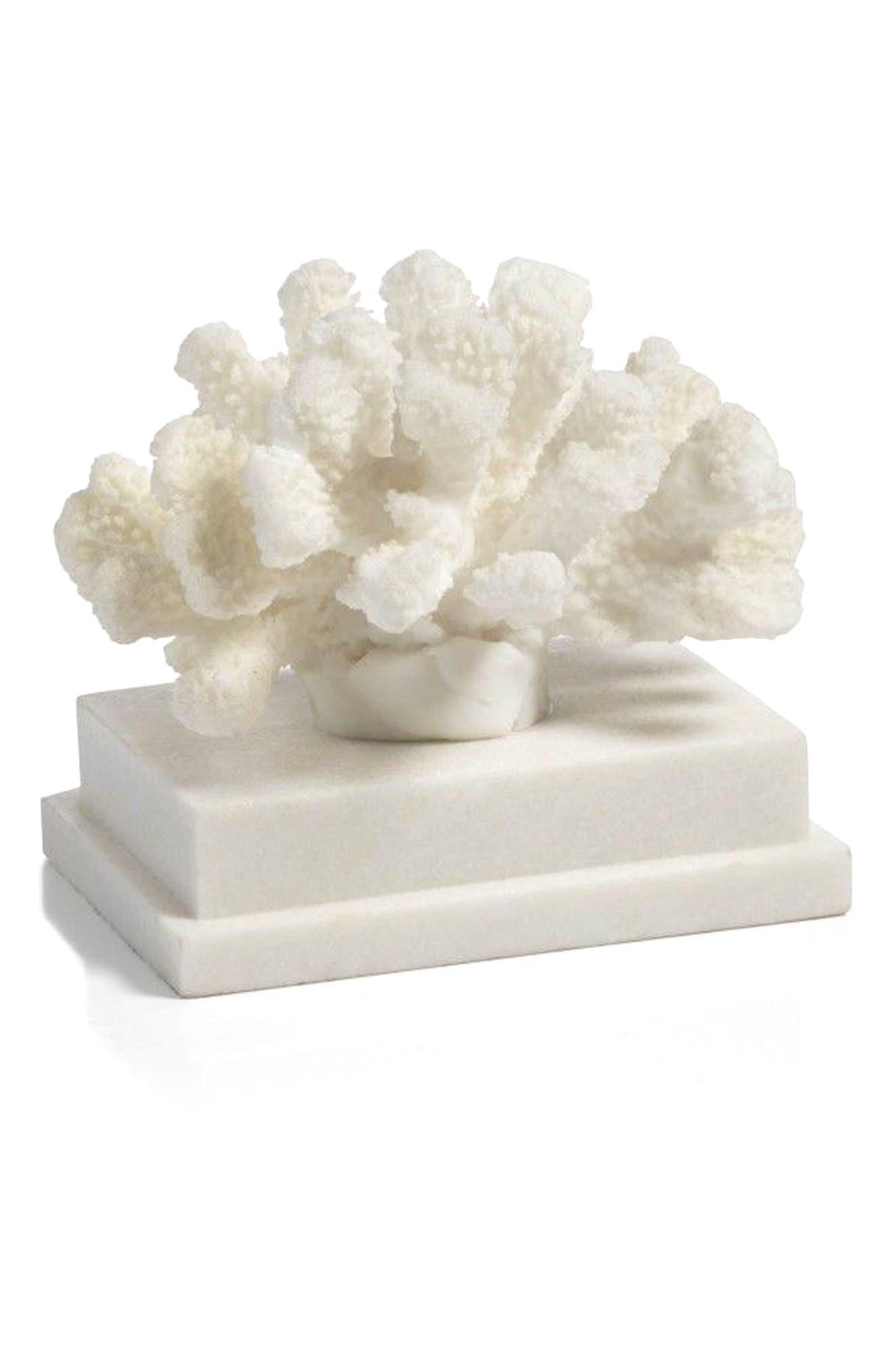 Morgana Rectangular Base Coral Sculpture,                             Main thumbnail 1, color,                             100