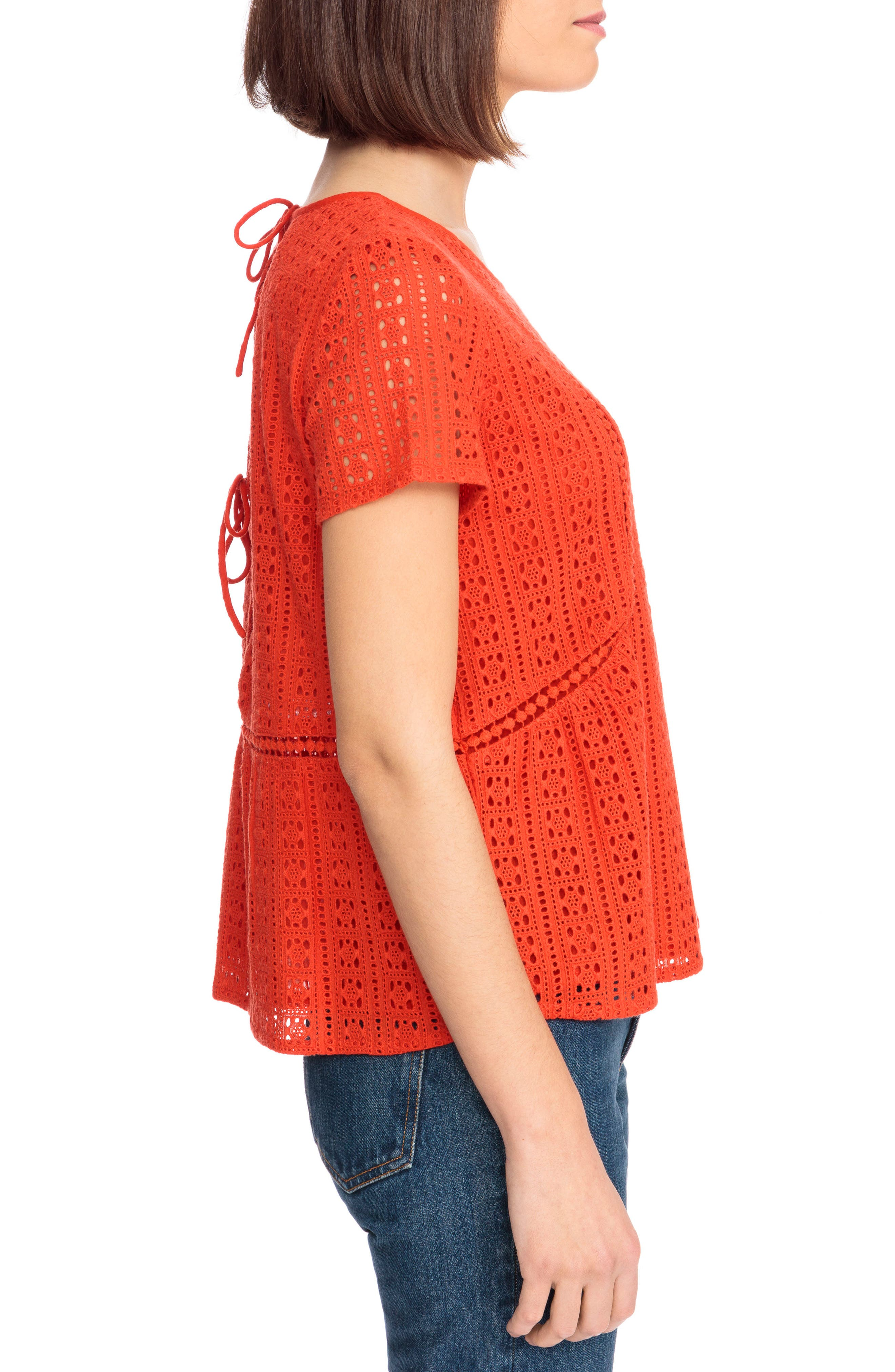 Clo Crochet Blouse,                             Alternate thumbnail 7, color,