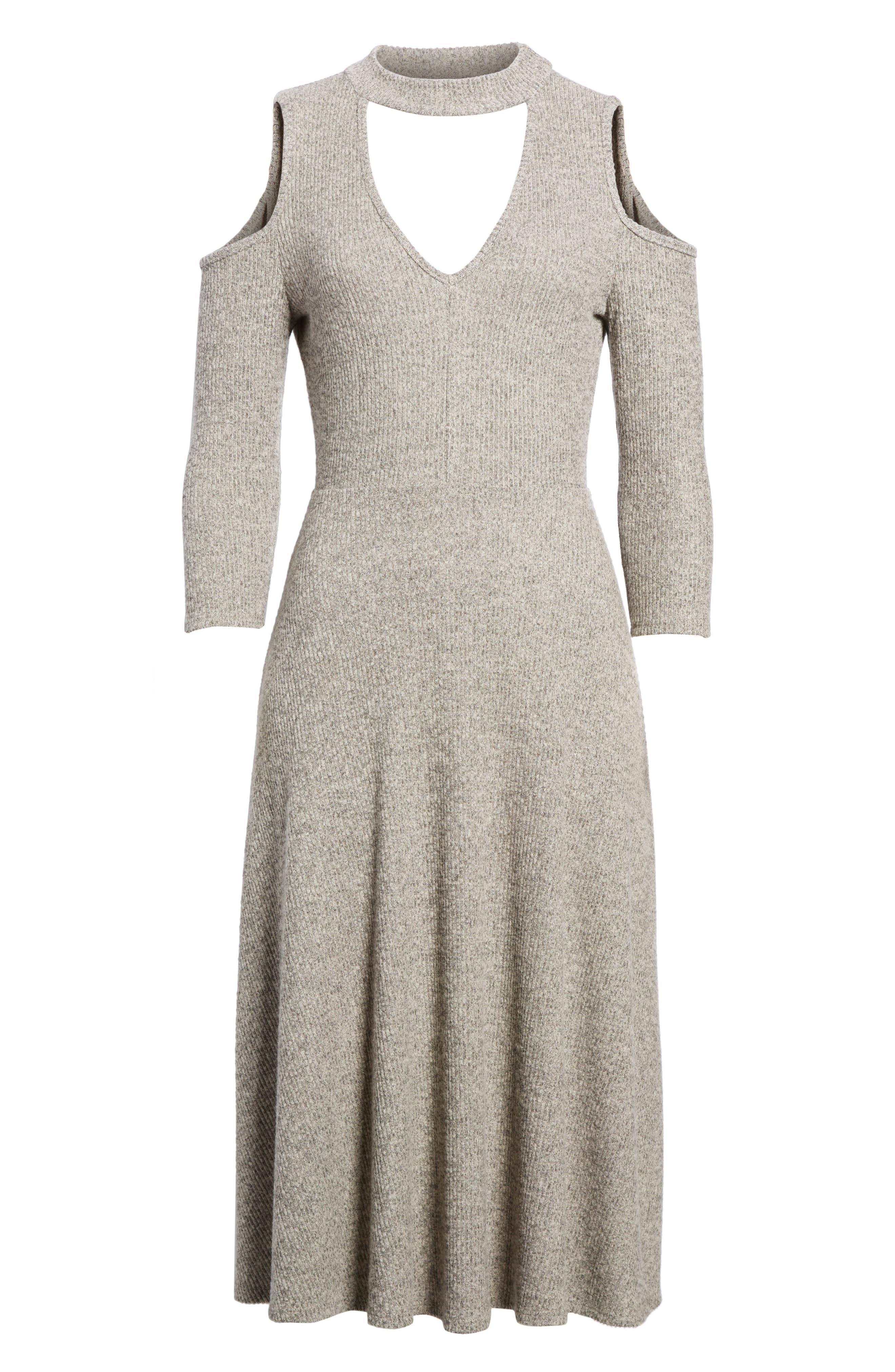 Choker Neck Cold Shoulder Midi Dress,                             Alternate thumbnail 6, color,