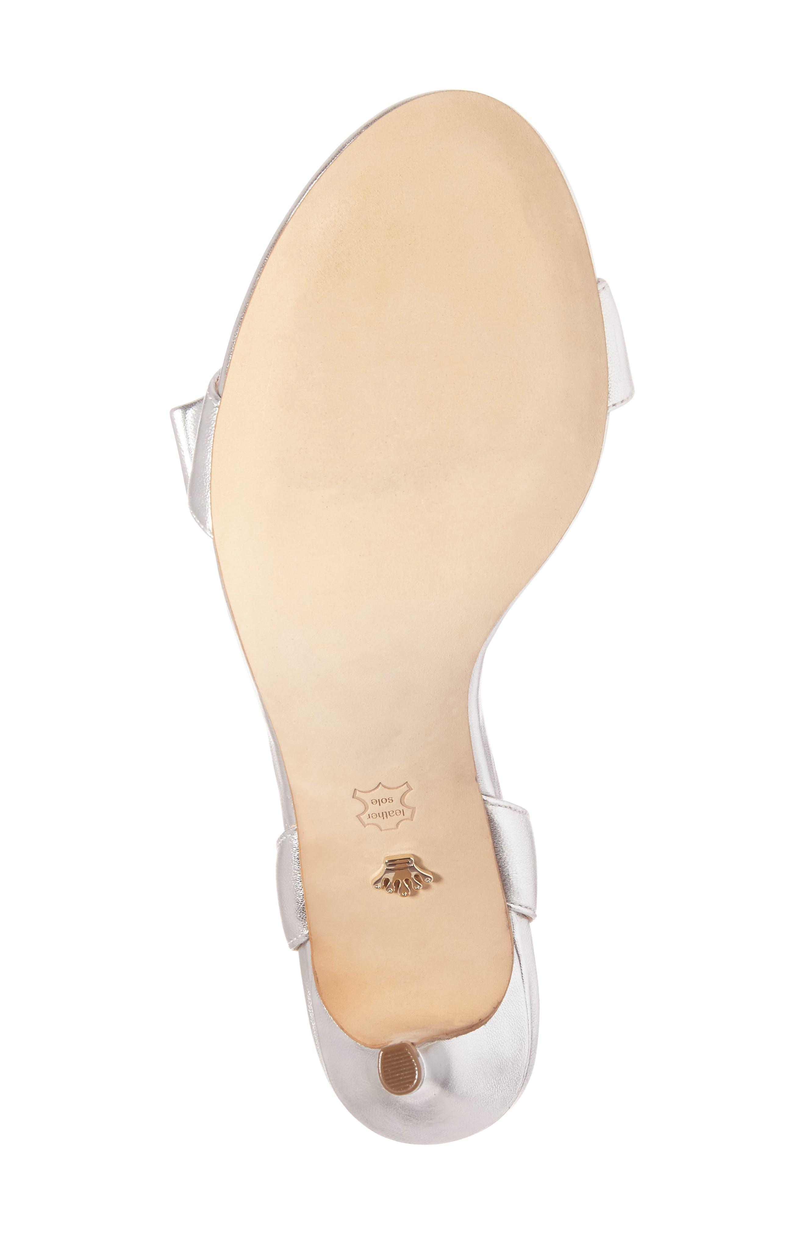 Kabira Swarovski Embellished Strappy Sandal,                             Alternate thumbnail 4, color,                             SILVER LEATHER