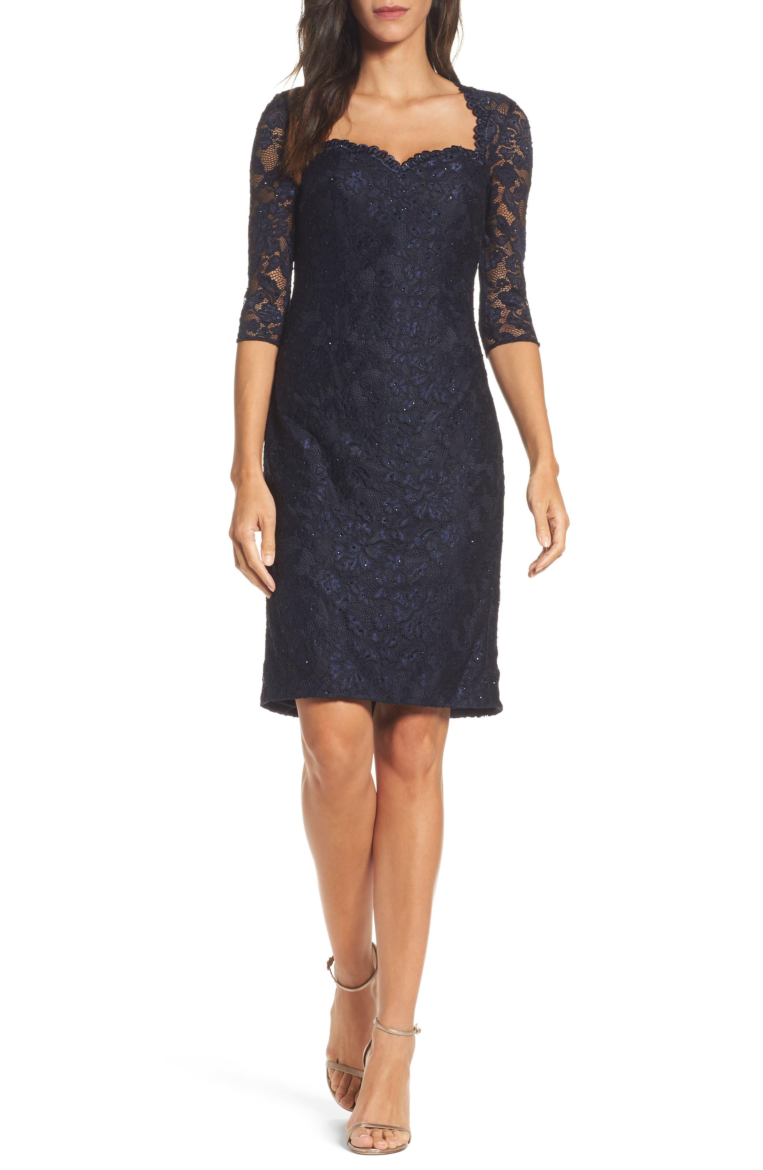 La Femme Sweetheart Lace Sheath Dress, Blue