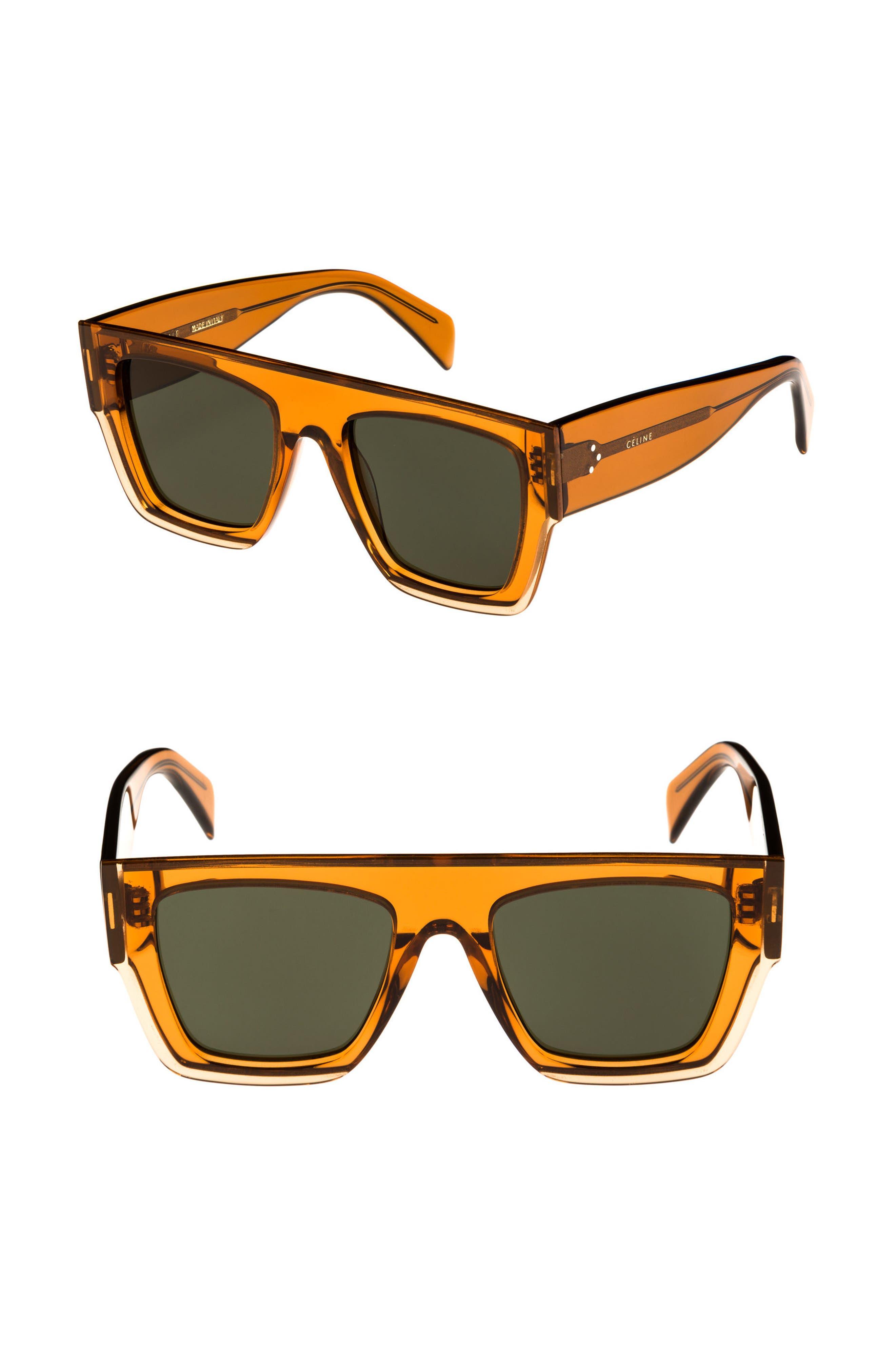 51mm Rectangular Sunglasses,                             Main thumbnail 1, color,                             AMBER/ GREEN