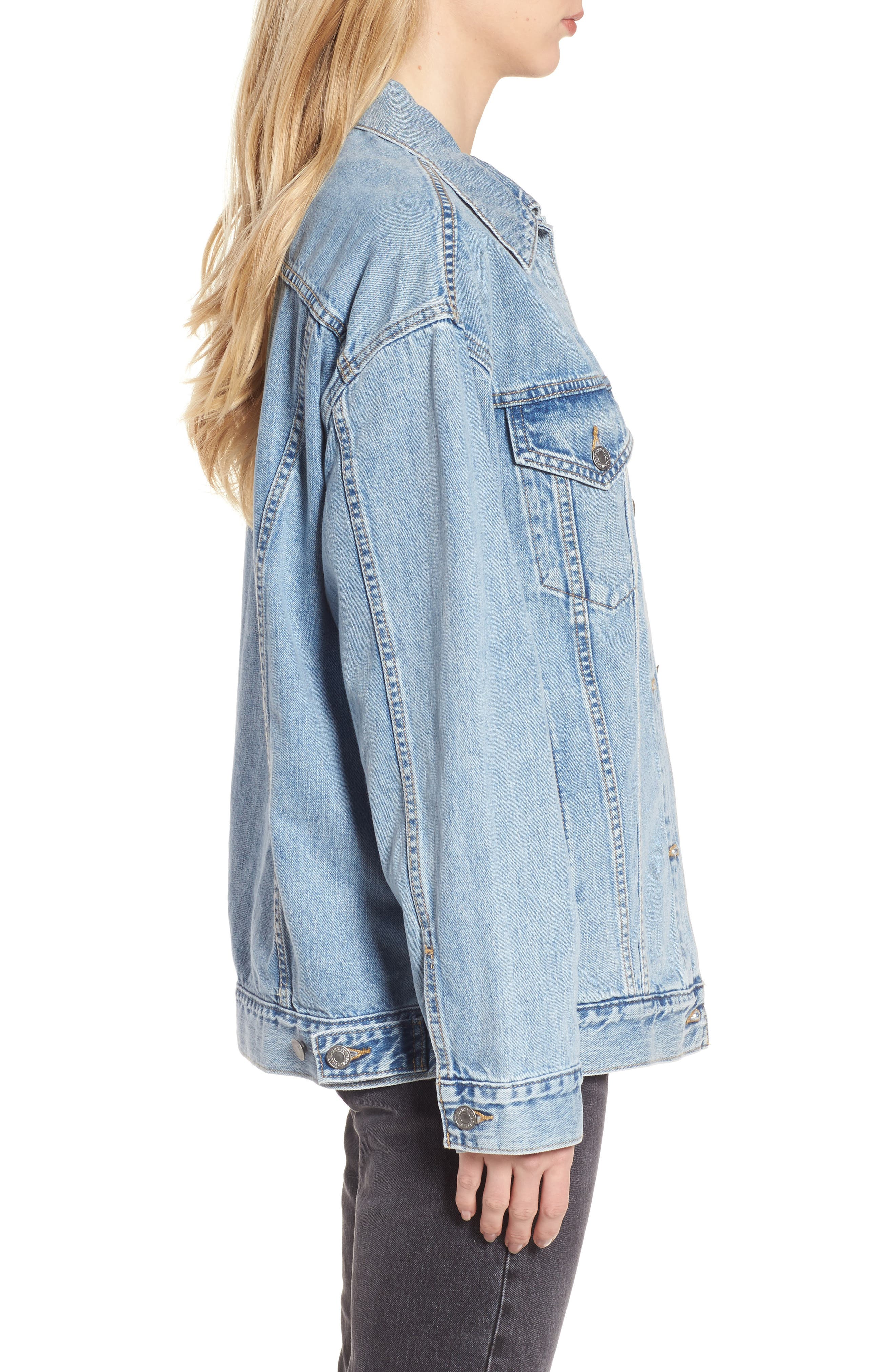 Baggy Trucker Denim Jacket,                             Alternate thumbnail 3, color,                             TRUE LIFE