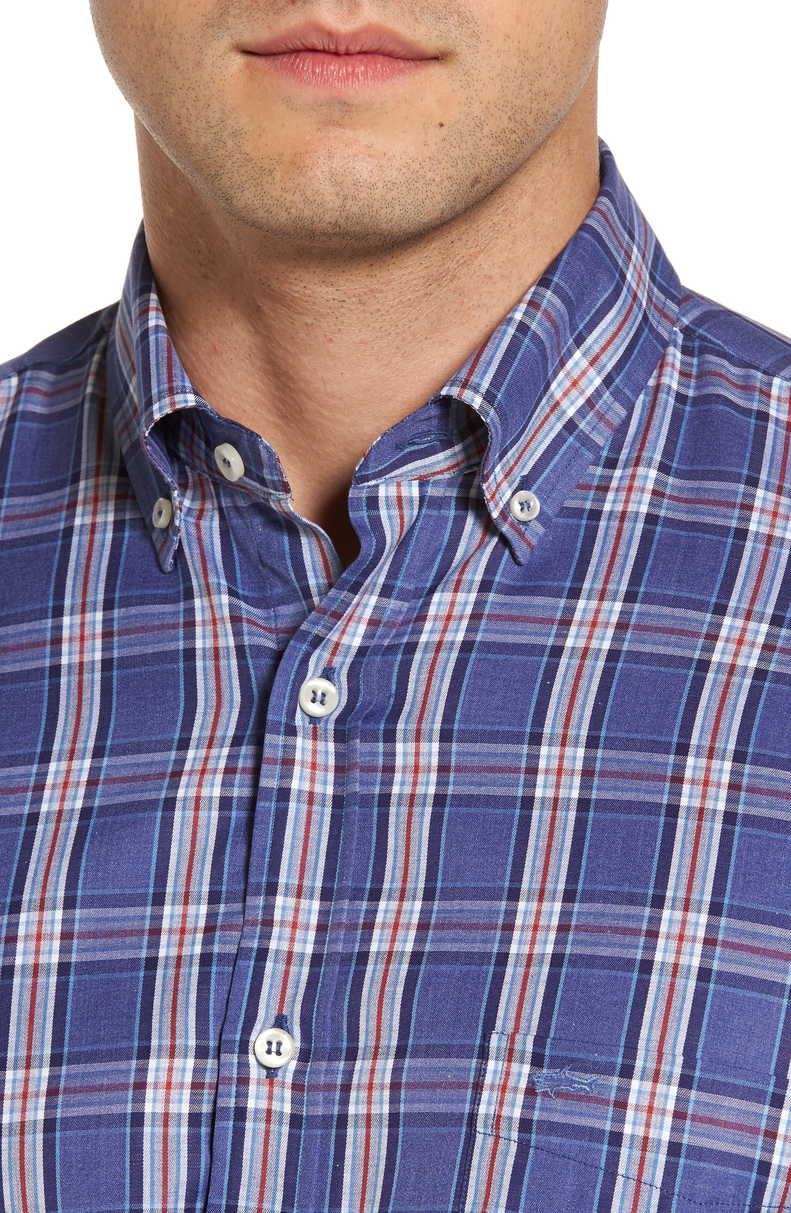 Paul&Shark Plaid Sport Shirt,                             Alternate thumbnail 4, color,                             400