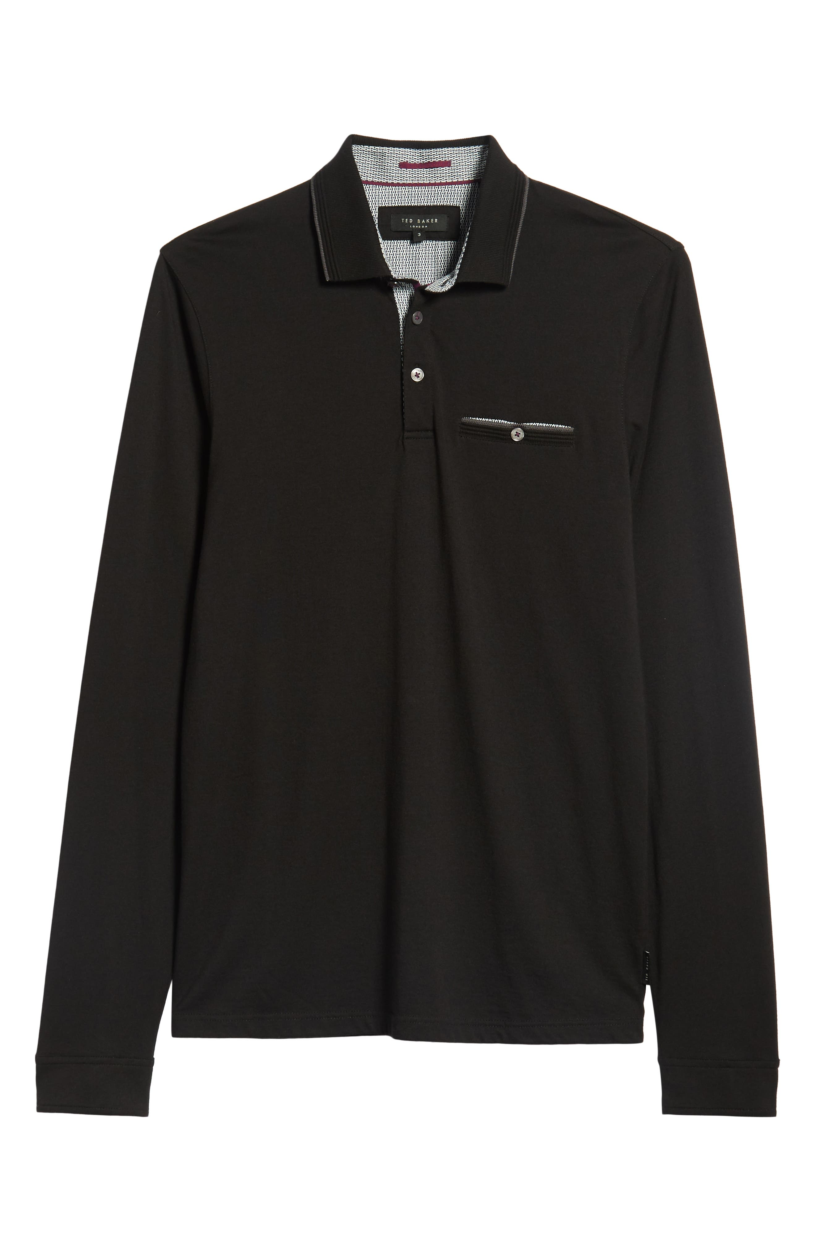 Loomie Slim Fit Tipped Long Sleeve Polo,                             Alternate thumbnail 6, color,                             BLACK