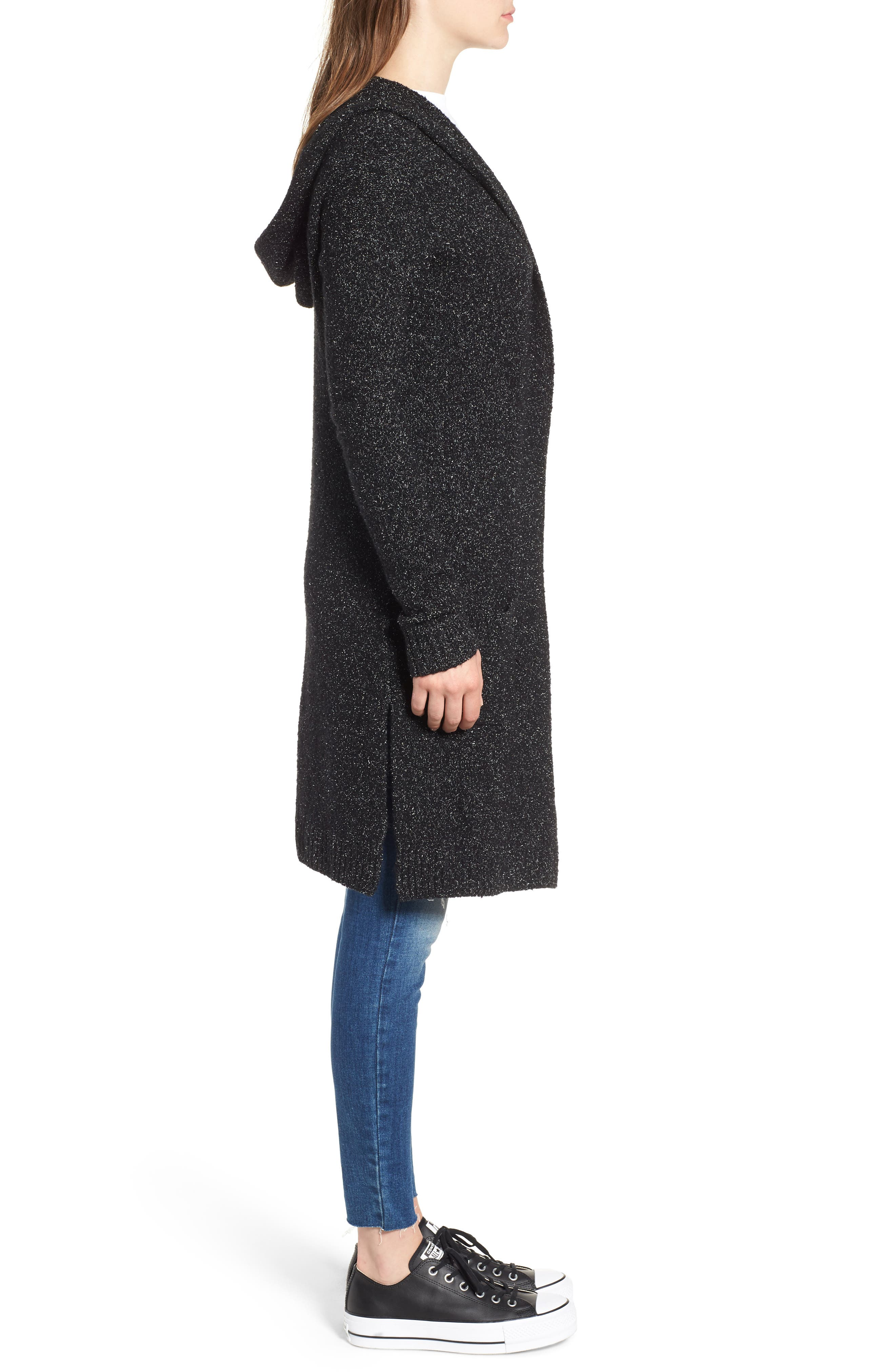 Hooded Cardigan,                             Alternate thumbnail 3, color,                             BLACK