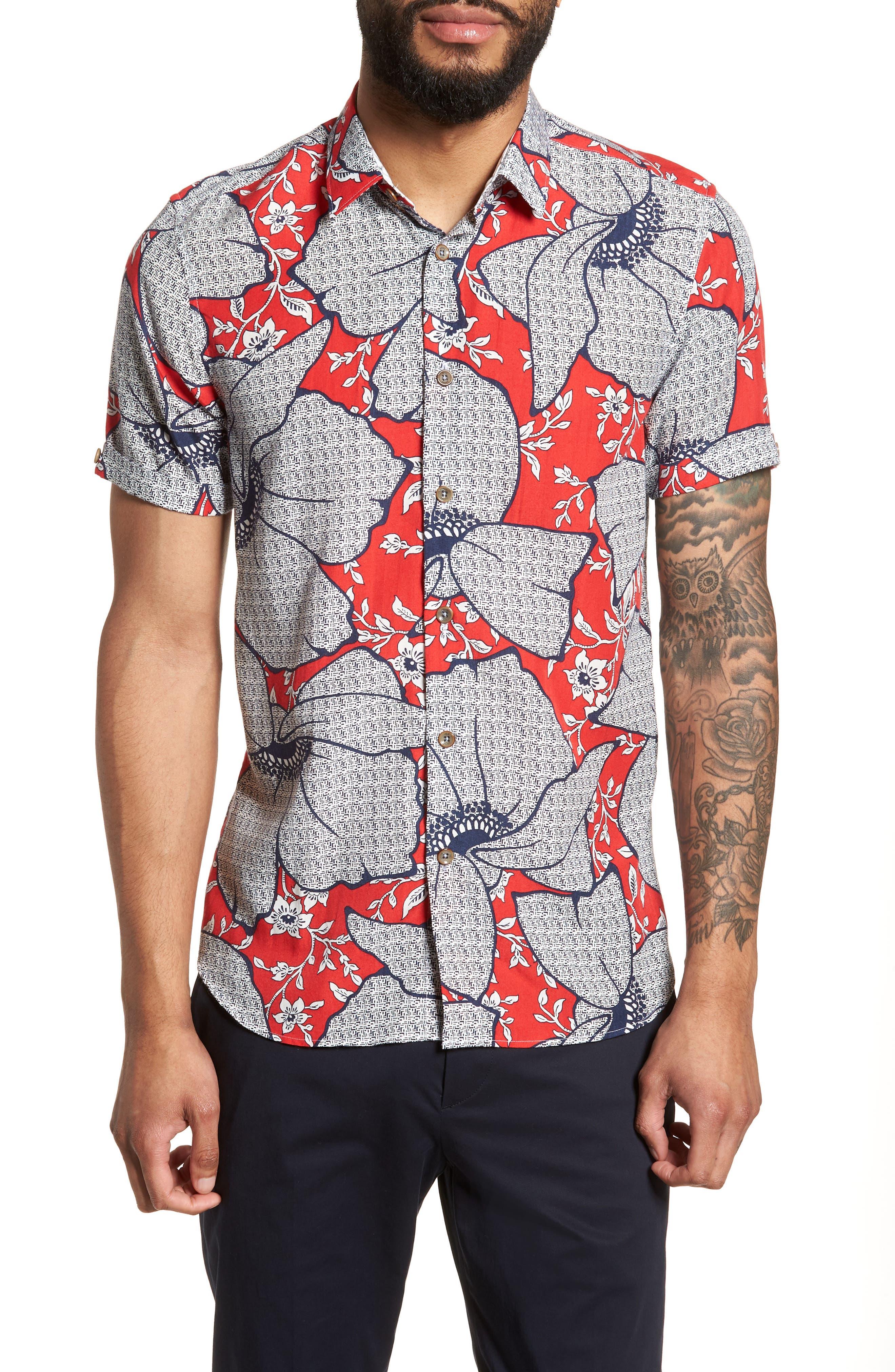 Sohot Trim Fit Floral Sport Shirt,                         Main,                         color, RED