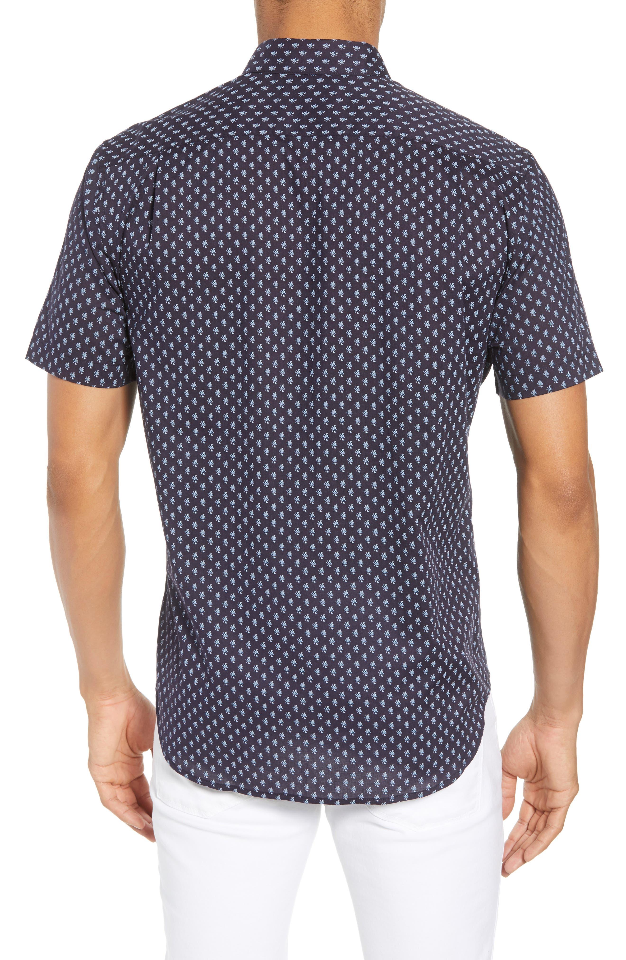 Classic Fit Print Short Sleeve Sport Shirt,                             Alternate thumbnail 2, color,                             NEW COASTAL