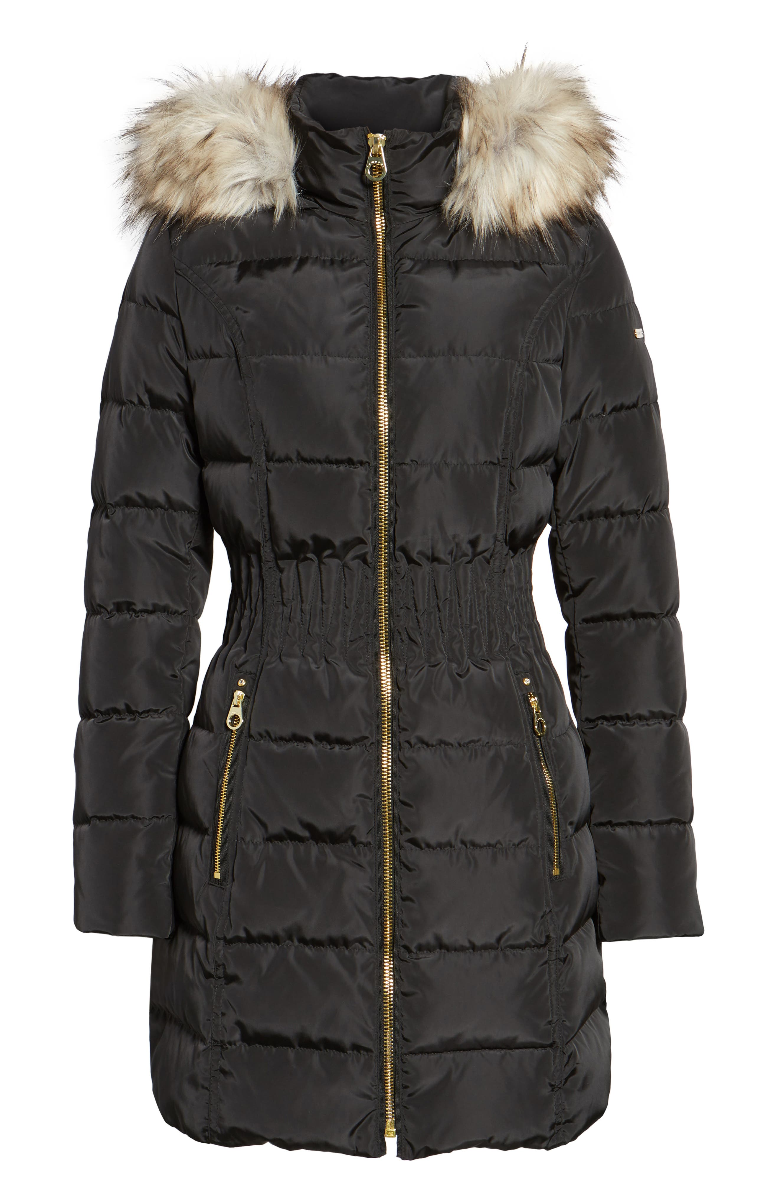 Hooded Quilted Jacket with Faux Fur Trim,                             Alternate thumbnail 5, color,                             001